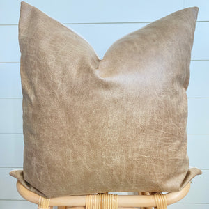 MONTANA || Whiskey Faux Leather Pillow Cover