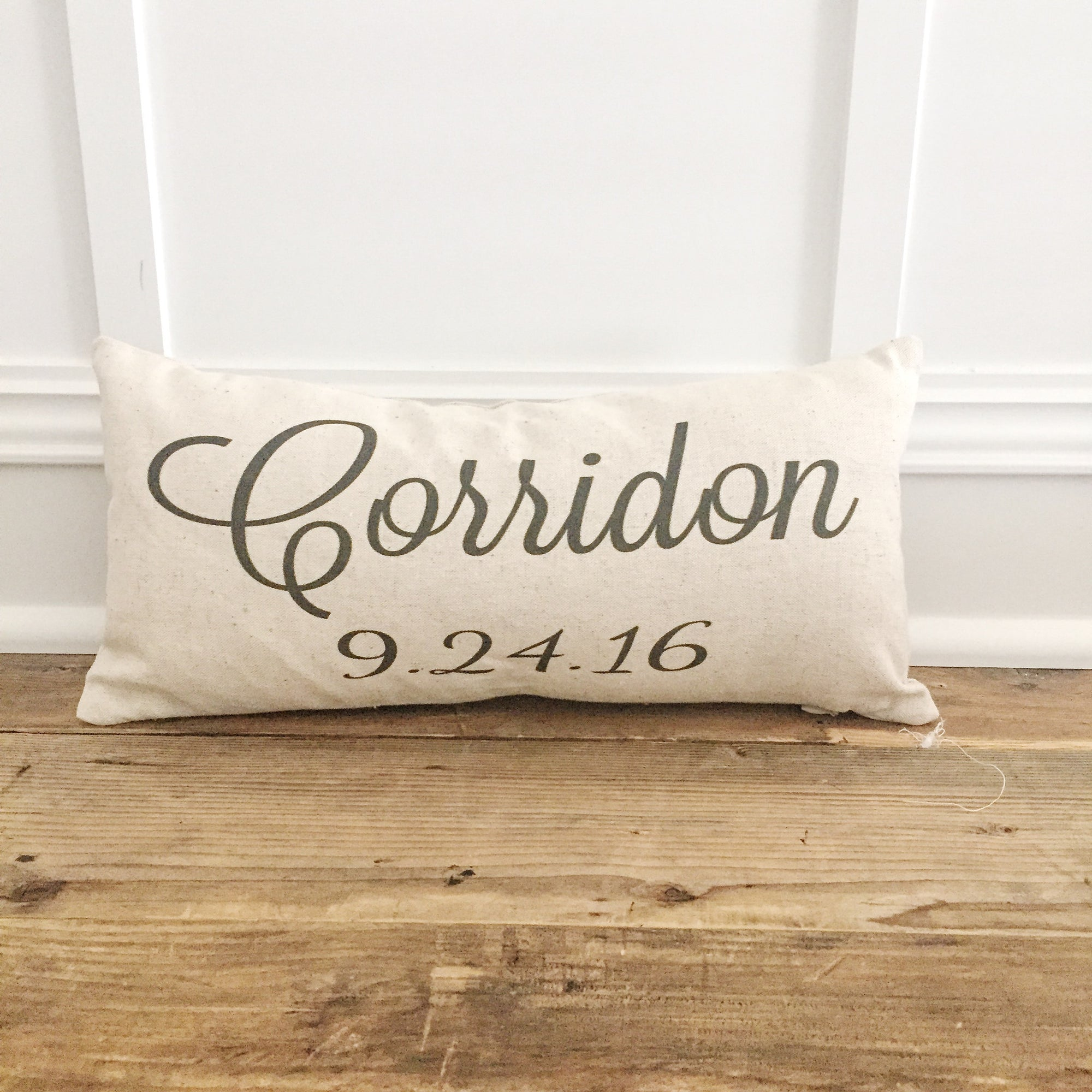 Custom Name & Date Pillow Cover - Linen and Ivory