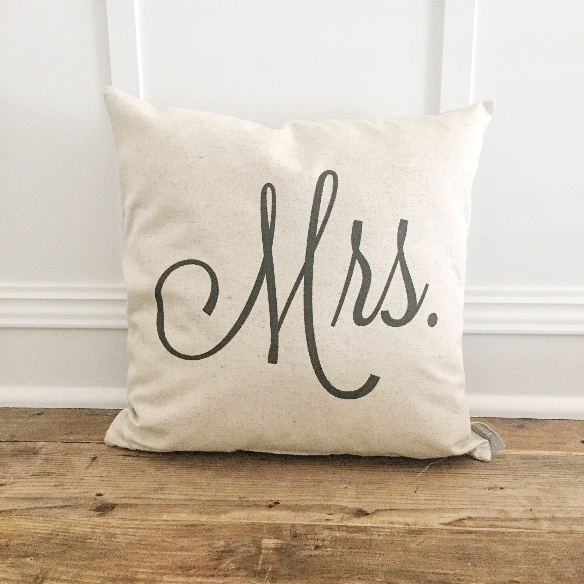 Mr Mrs Pillow Cover Set Of 2 Linen And Ivory