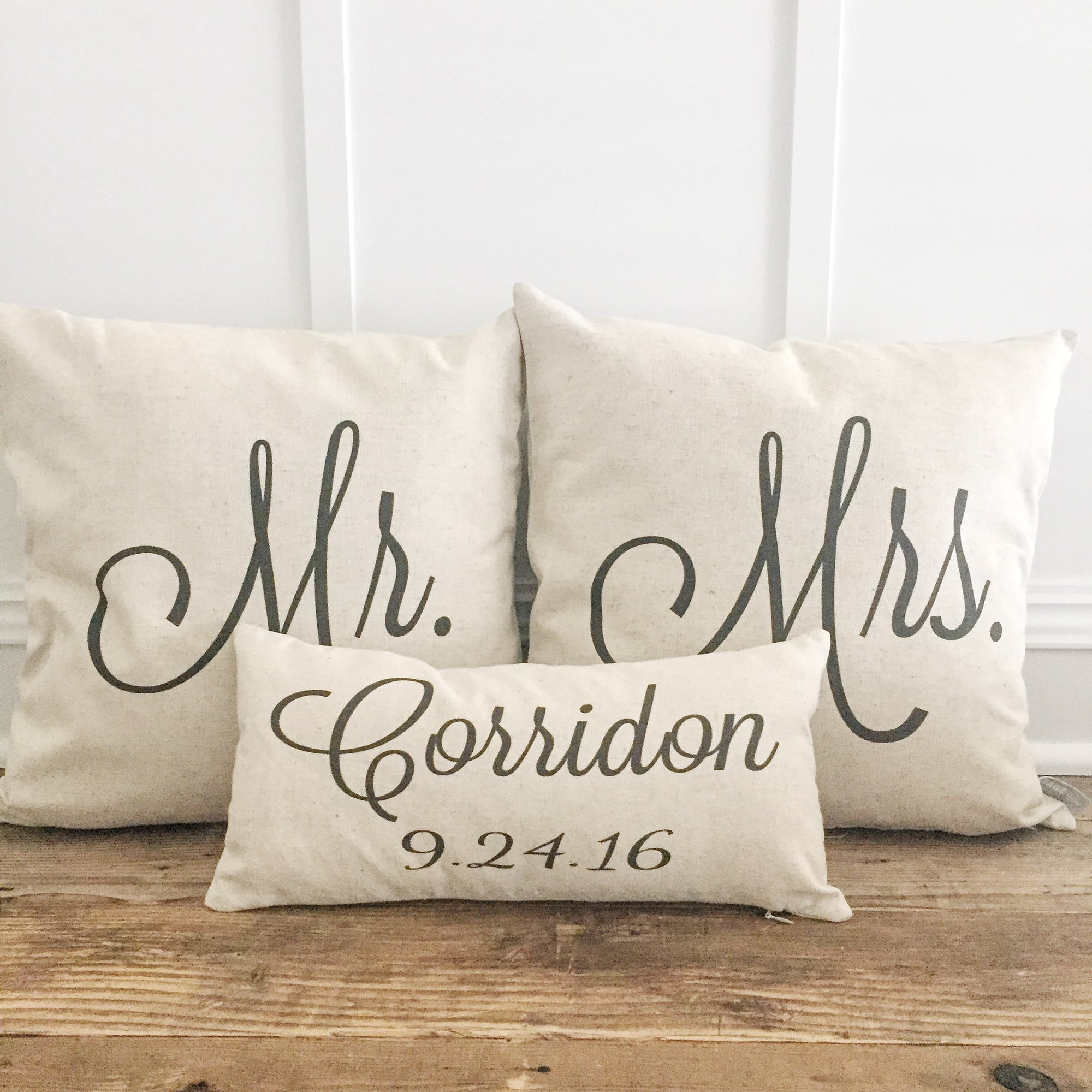 Mr & Mrs Pillow Covers With Name & Wedding Date (Set of 3) - Linen and Ivory