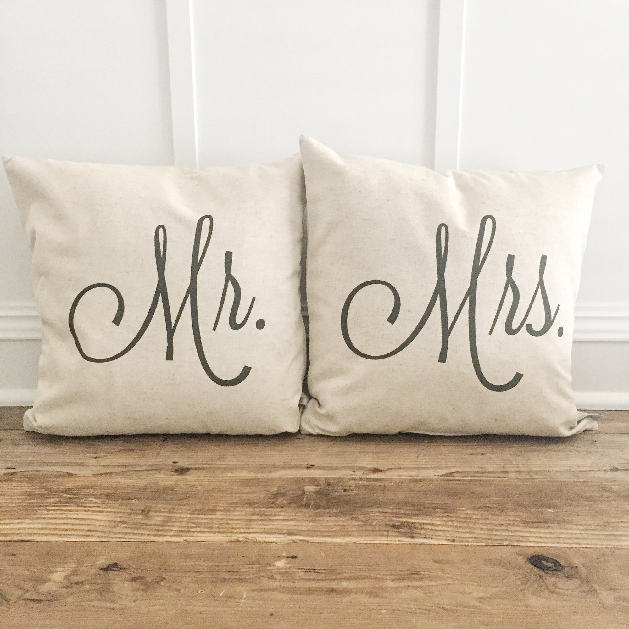 Mr. & Mrs. Pillow Cover (Set of 2) - Linen and Ivory