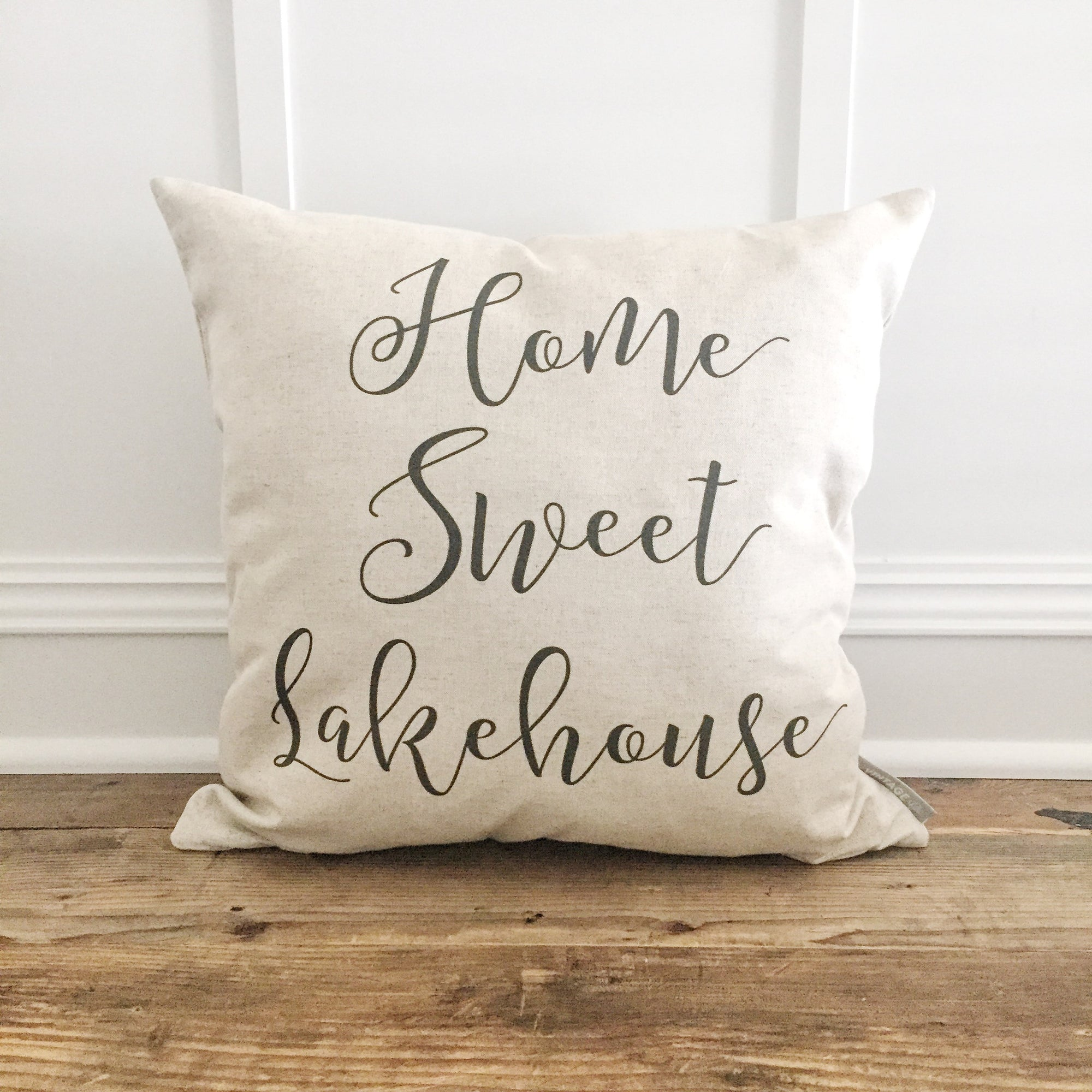 Home Sweet Lakehouse Pillow Cover - Linen and Ivory