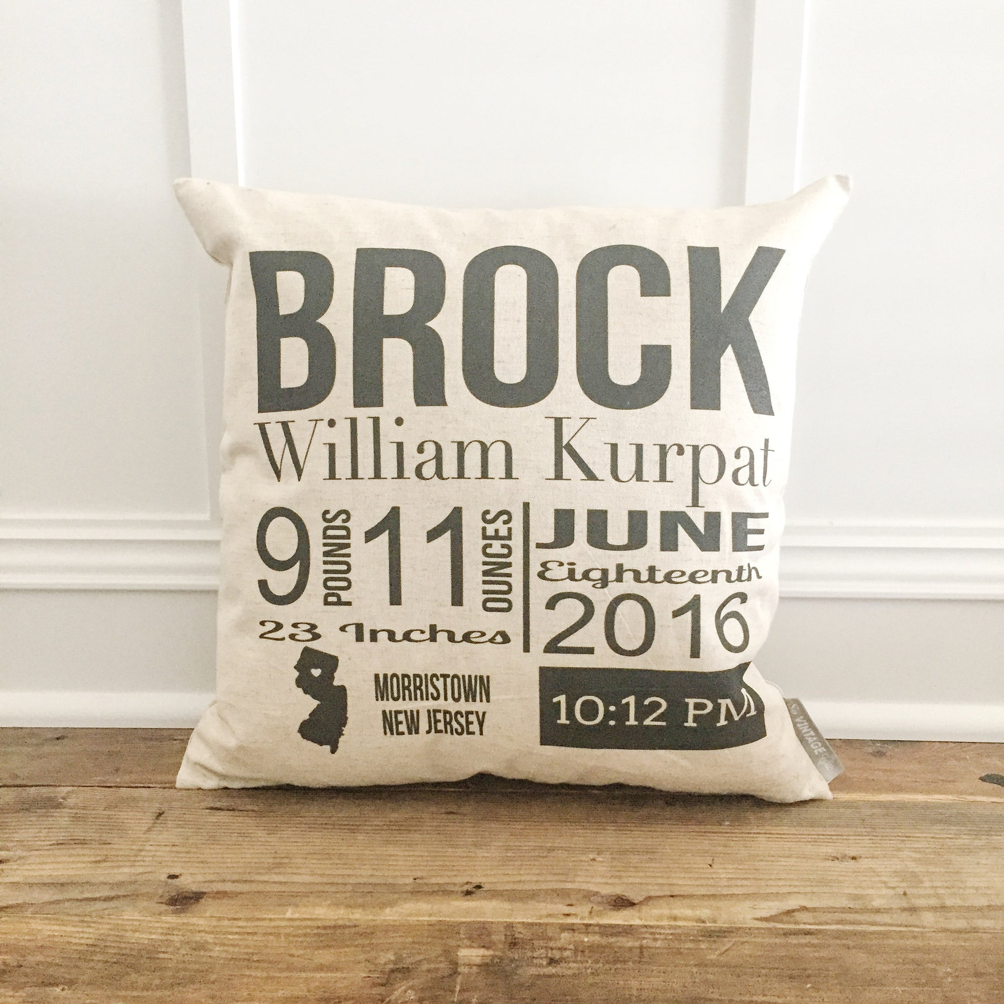 Bold Birth Announcement Pillow Cover - Linen and Ivory