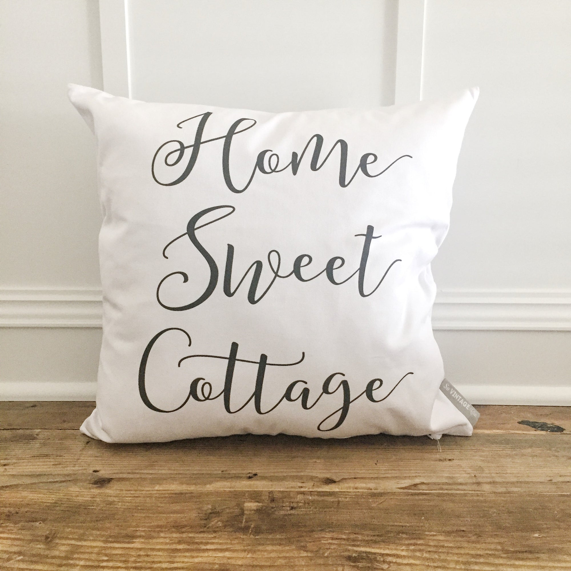 Home Sweet Cottage Pillow Cover - Linen and Ivory