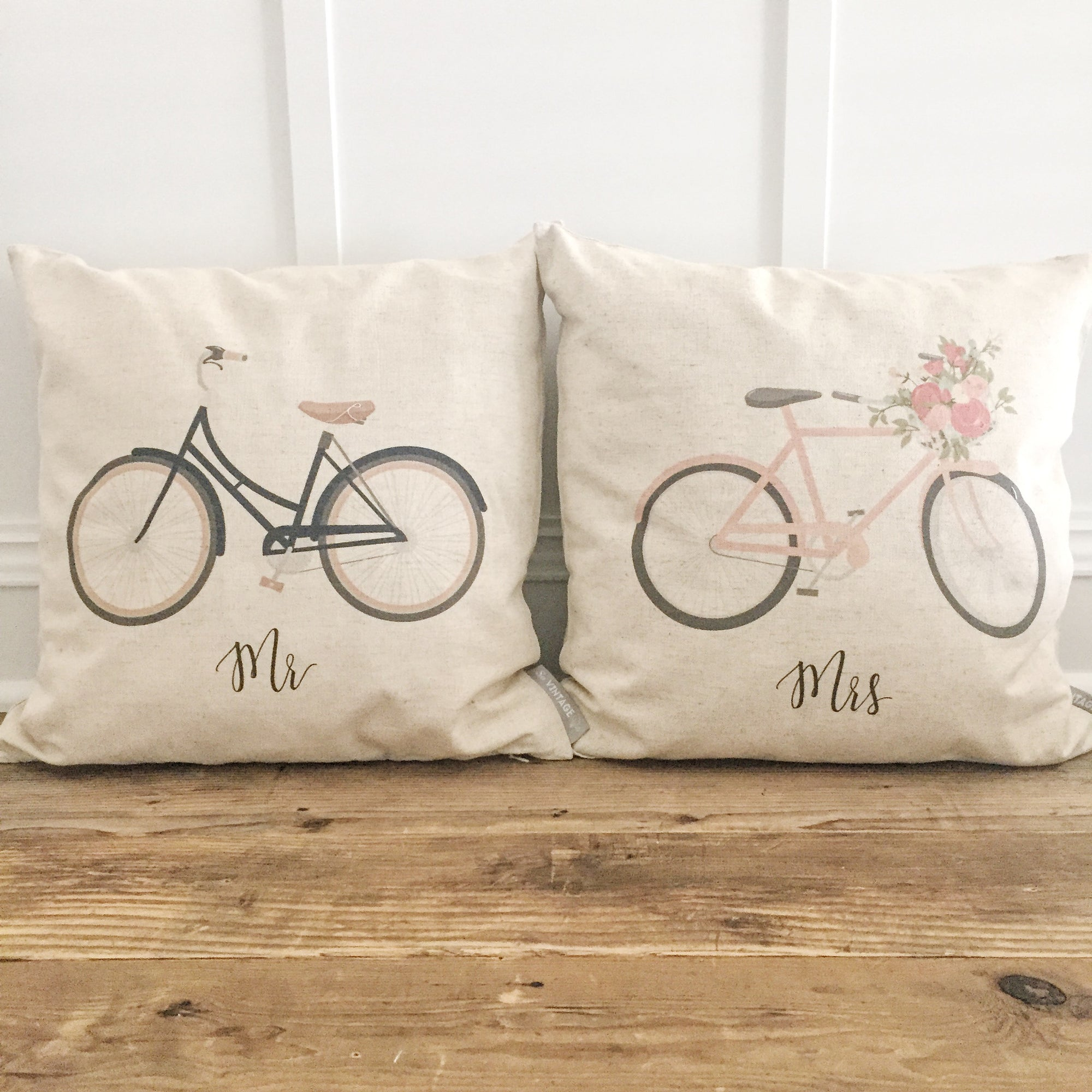 Mr & Mrs Bike Pillow Covers - Linen and Ivory