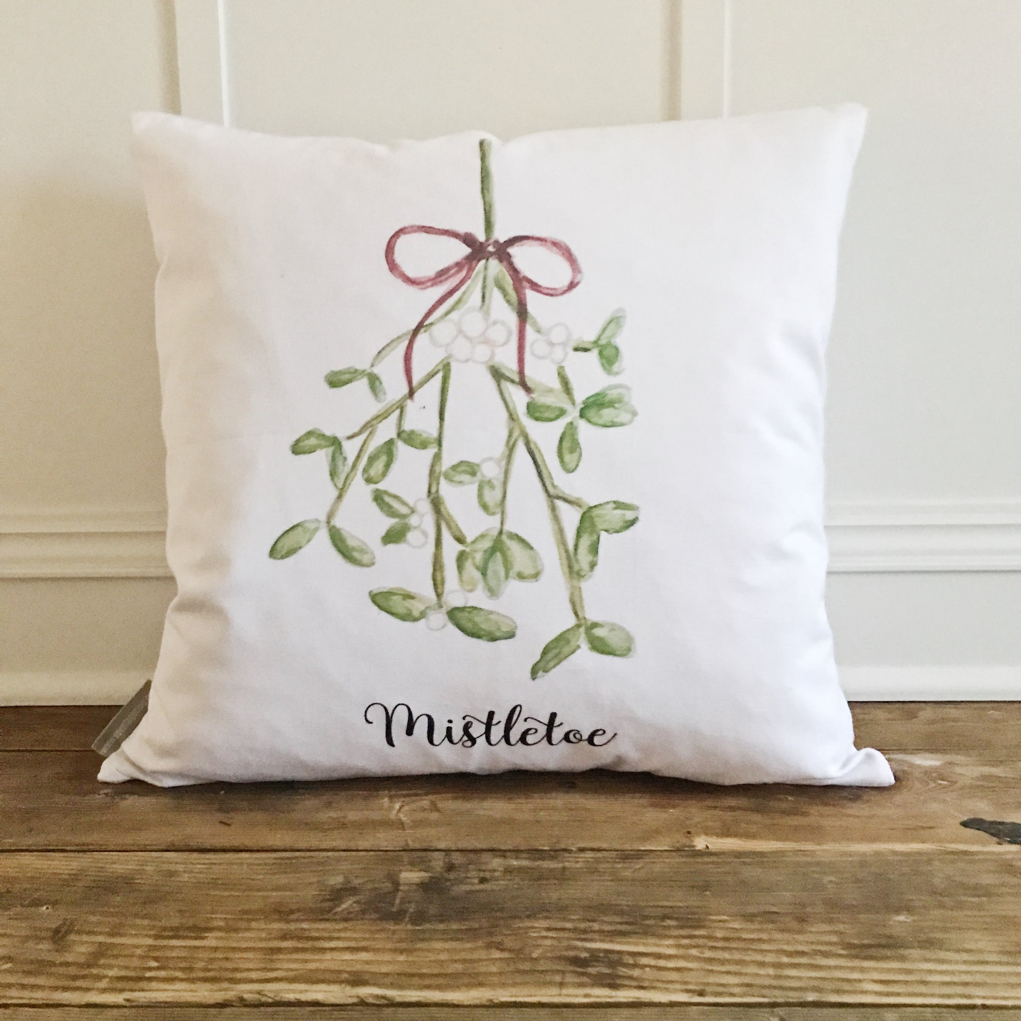 Watercolor Mistletoe Pillow Cover - Linen and Ivory