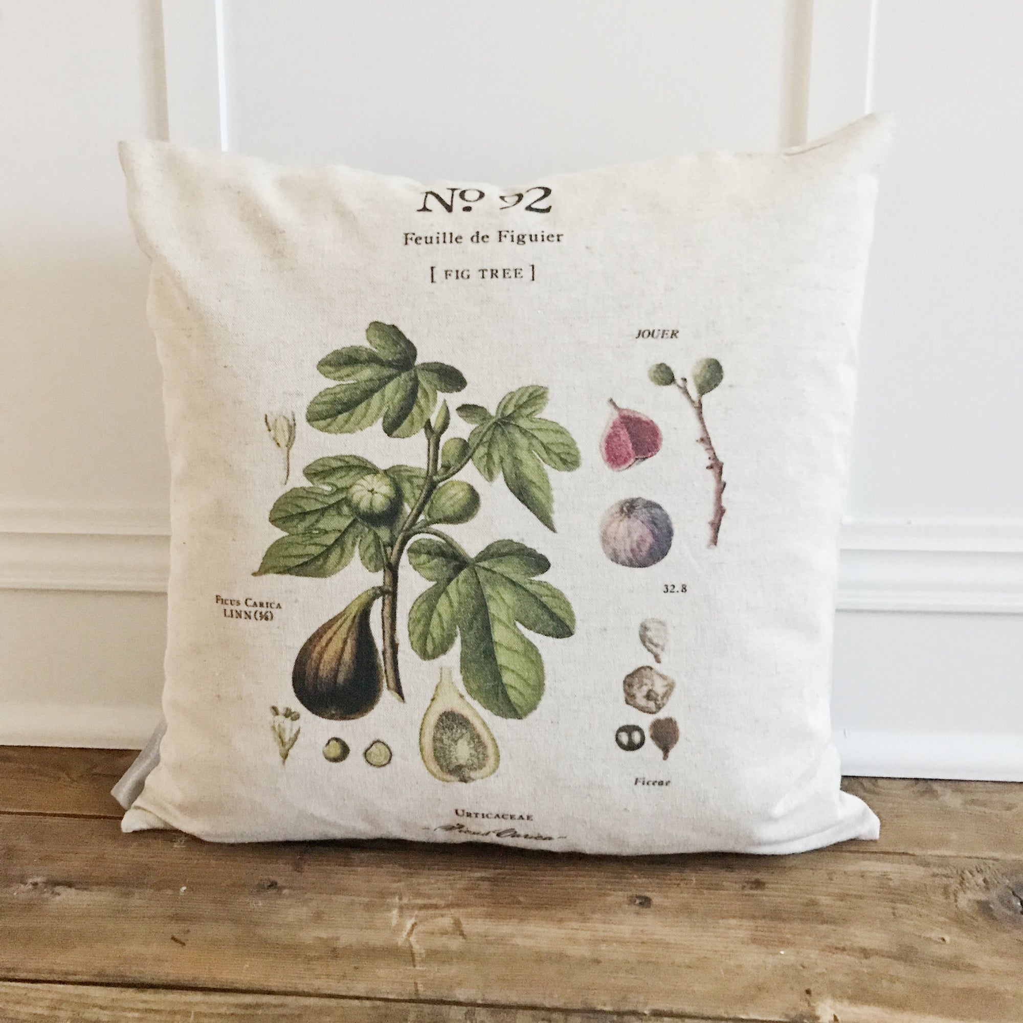 Botanical Fig Tree Pillow Cover - Linen and Ivory