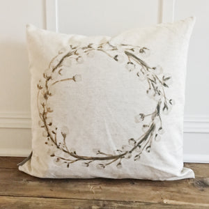 Watercolor Cotton Wreath Pillow Cover - Linen and Ivory