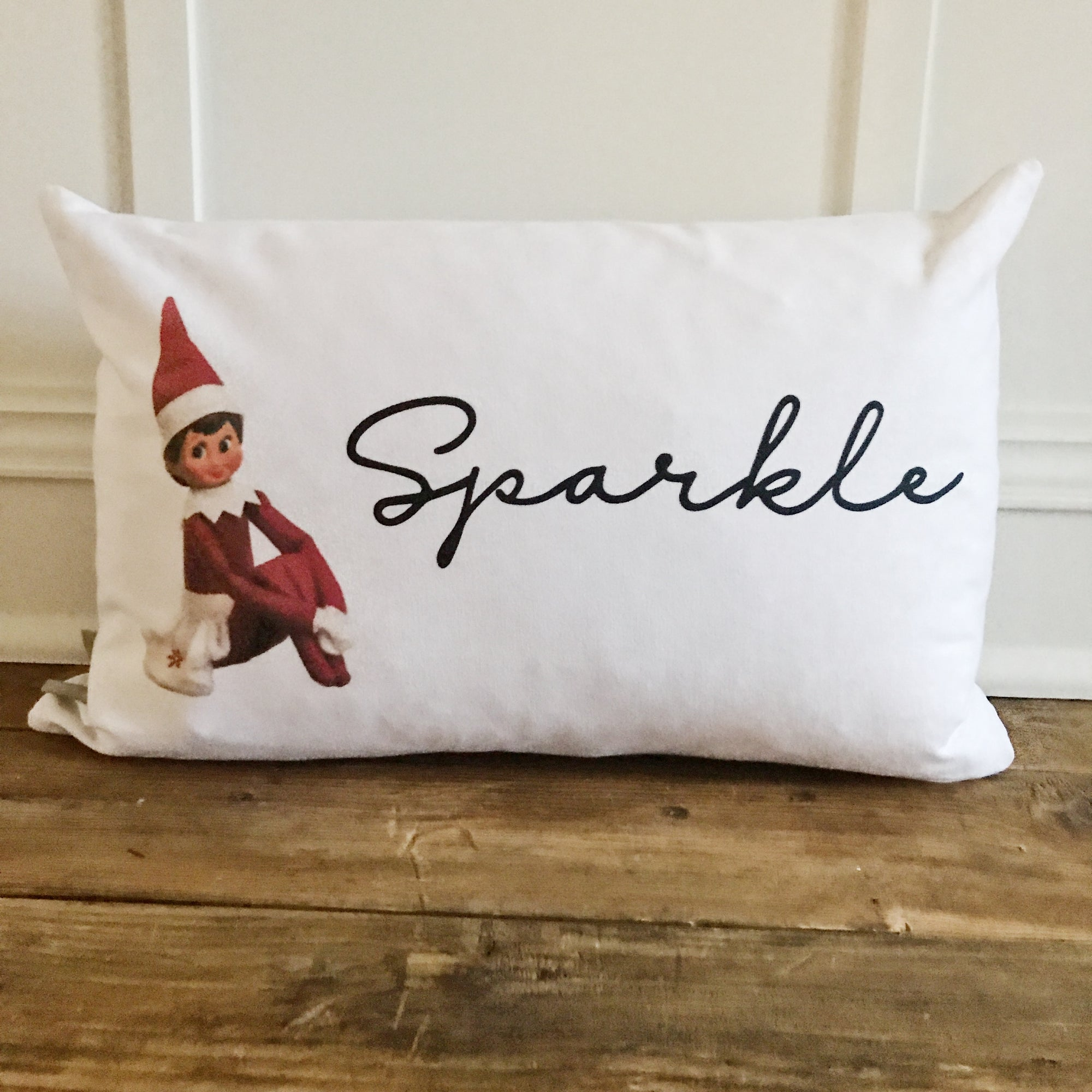 Custom Elf on the Shelf Pillow Cover (Girl) - Linen and Ivory