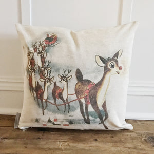 Vintage Rudolph & Sleigh Pillow Cover - Linen and Ivory