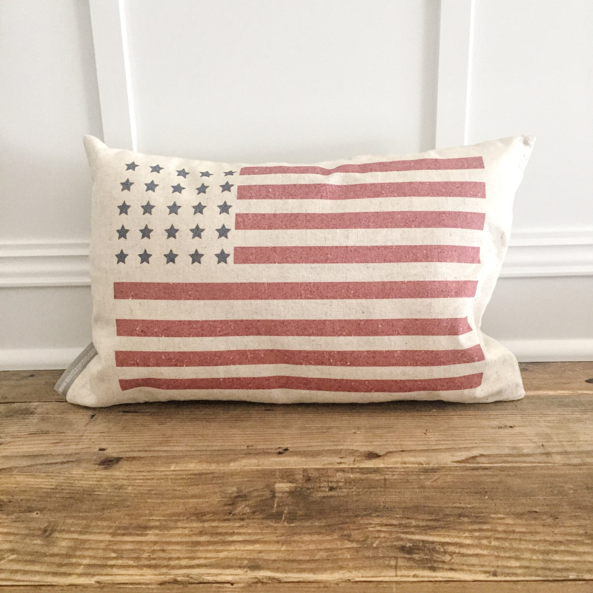 Distressed American Flag Pillow Cover (Color) - Linen and Ivory
