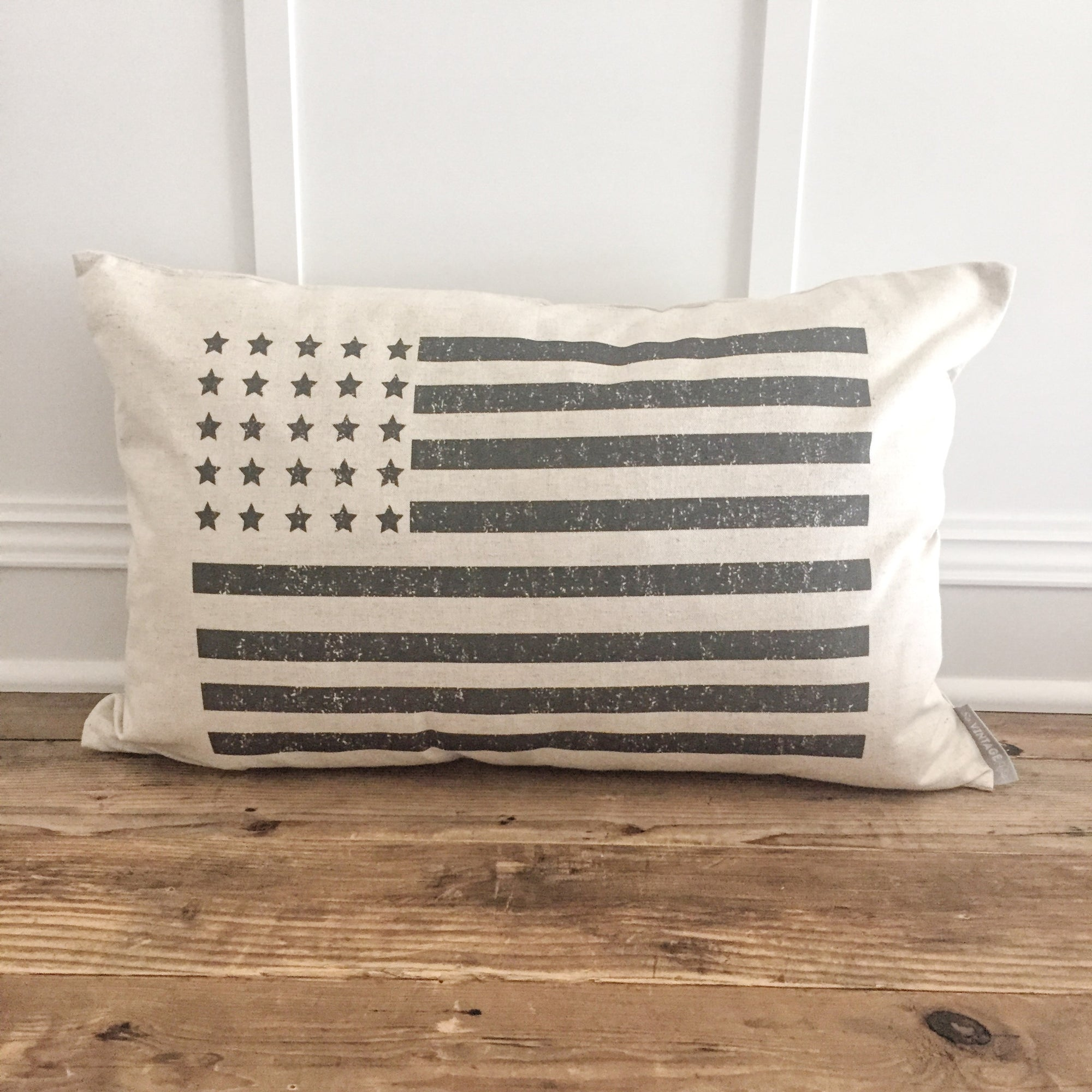 Distressed Flag Pillow Cover (Black) - Linen and Ivory