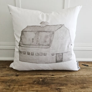 Watercolor Barn Pillow Cover (Gray) - Linen and Ivory