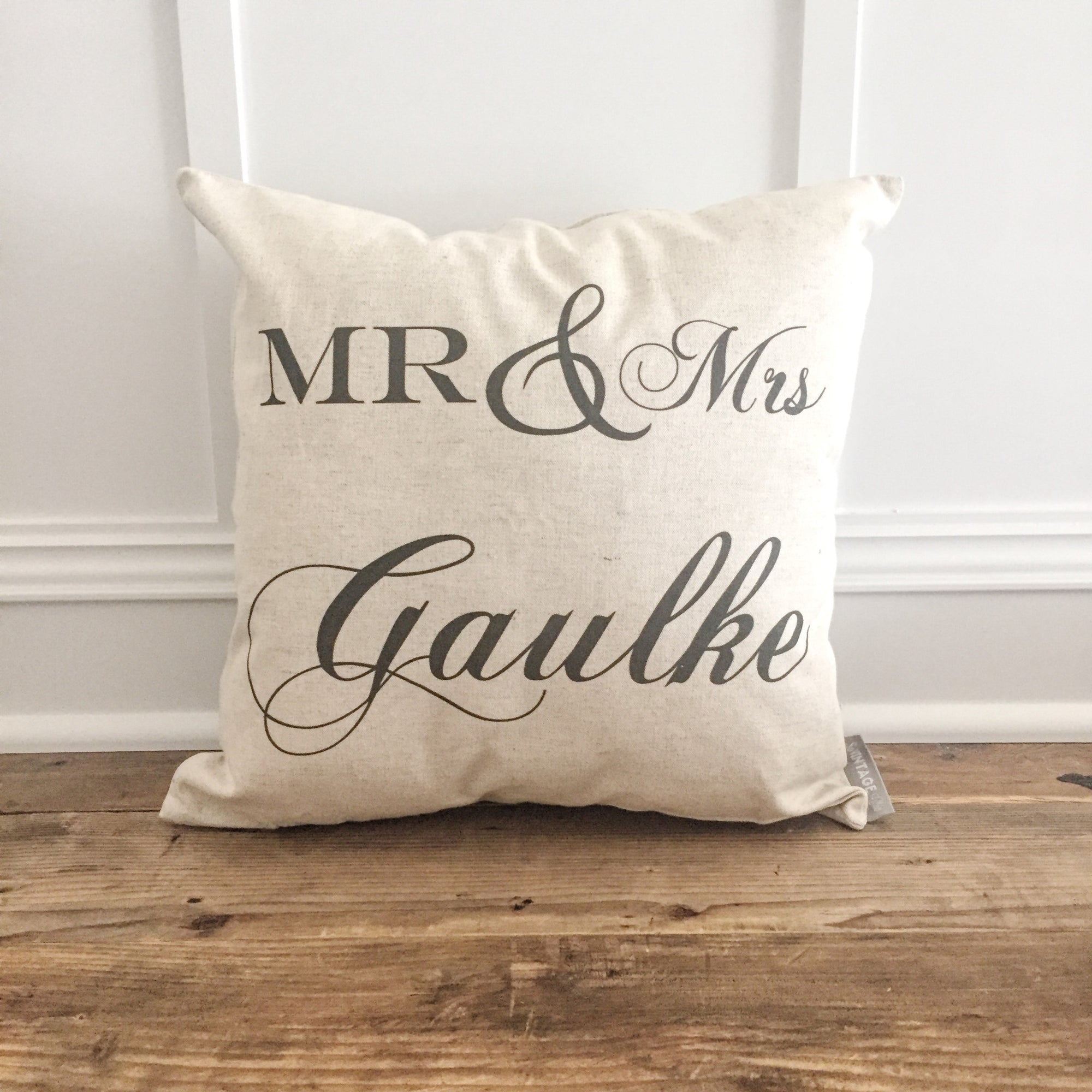 Mr & Mrs Personalized Pillow Cover - Linen and Ivory