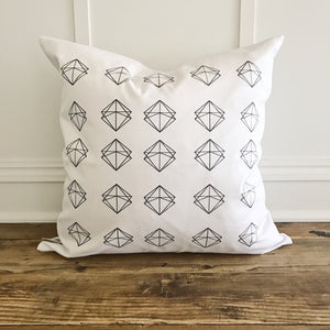 Geometric Stamp Pillow Cover - Linen and Ivory