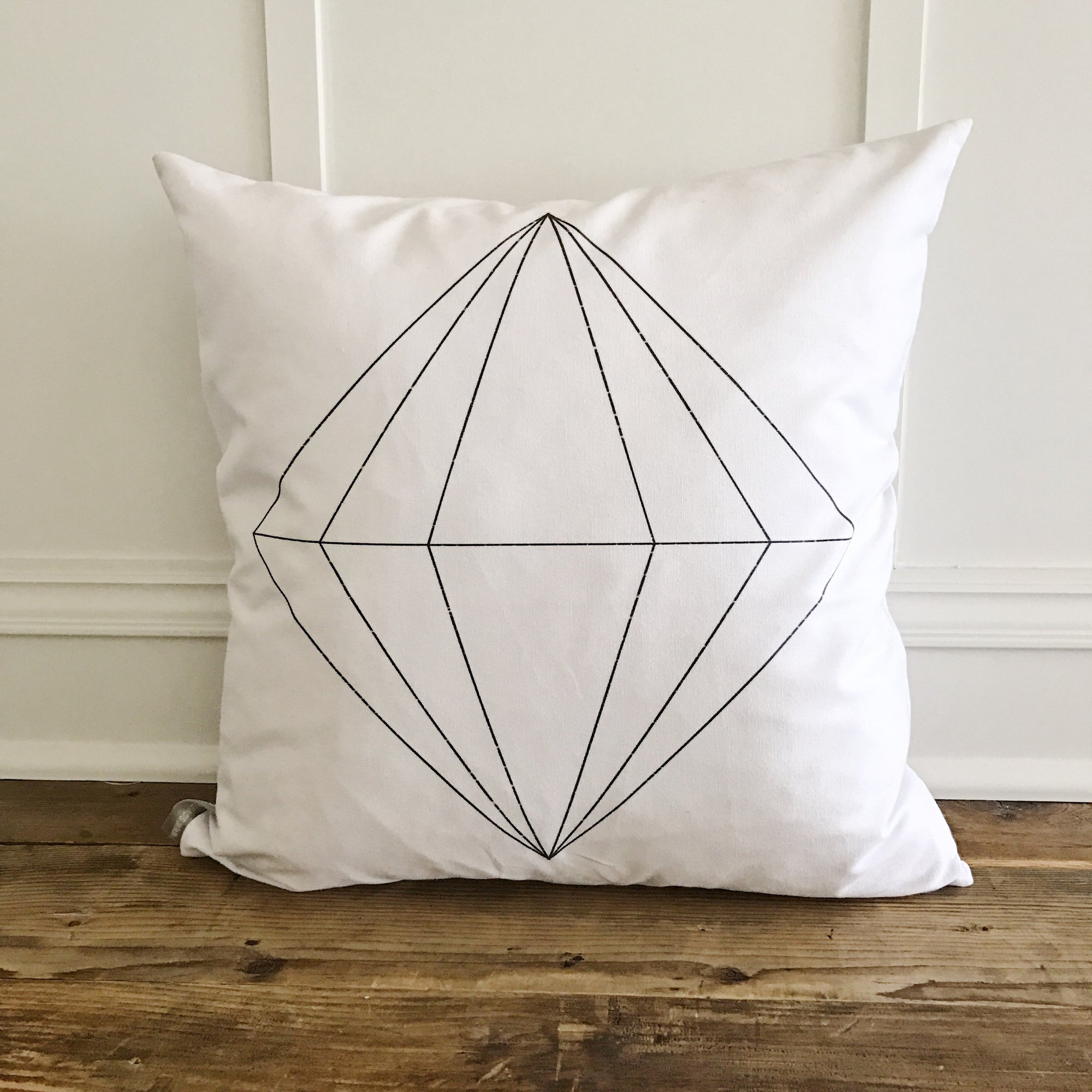 Diamond Geo Pillow Cover - Linen and Ivory