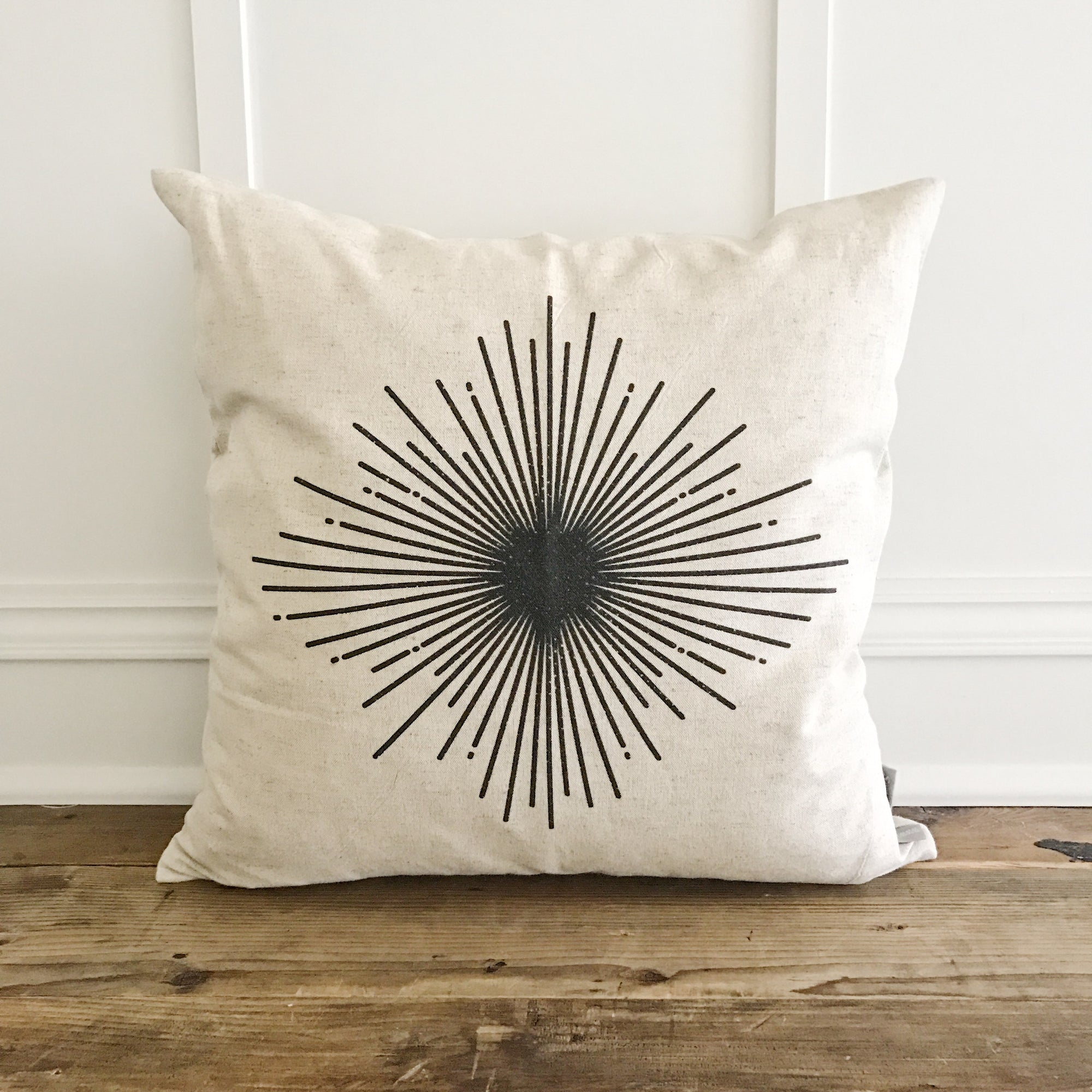 Starburst Pillow Cover (Design 1) - Linen and Ivory