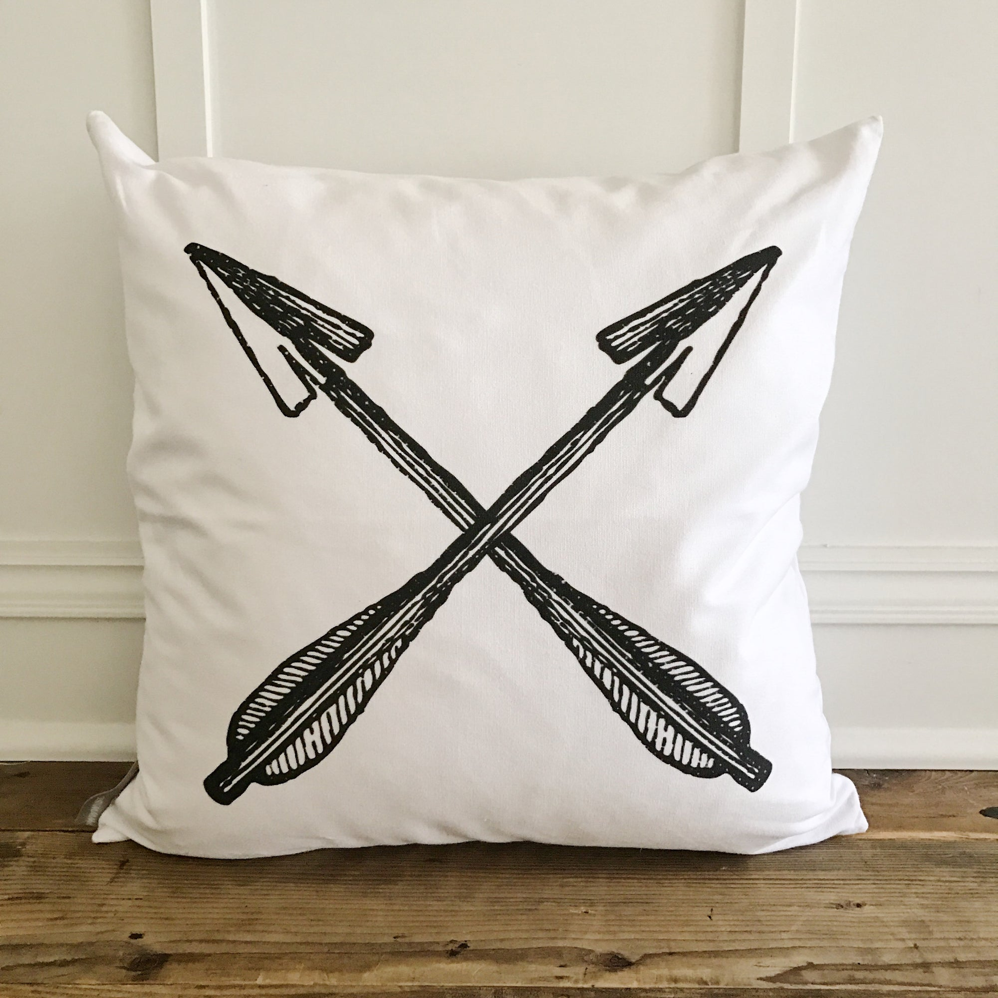 Crossed Arrows Pillow Cover - Linen and Ivory