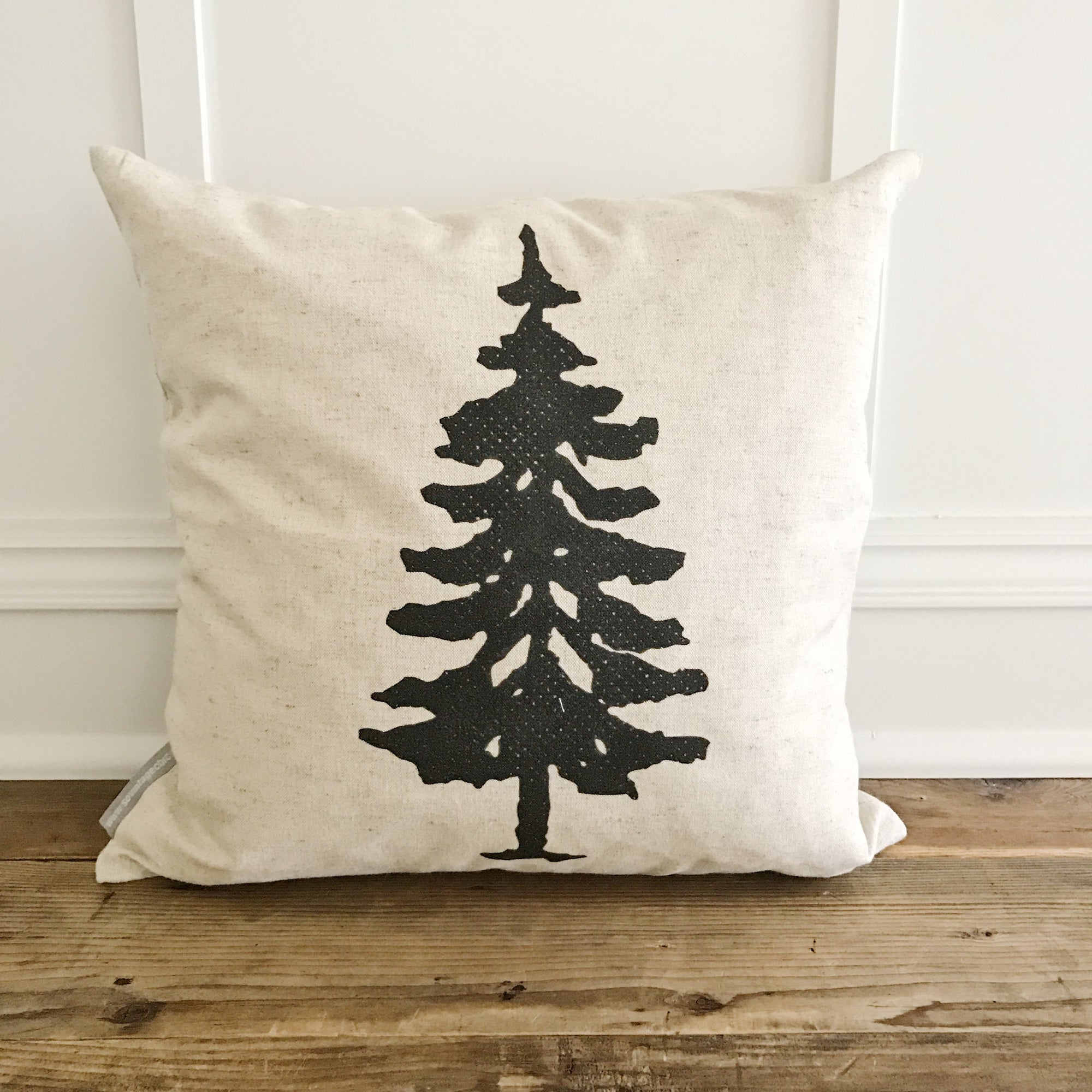 Fir Tree Pillow Cover (Design 1) - Linen and Ivory