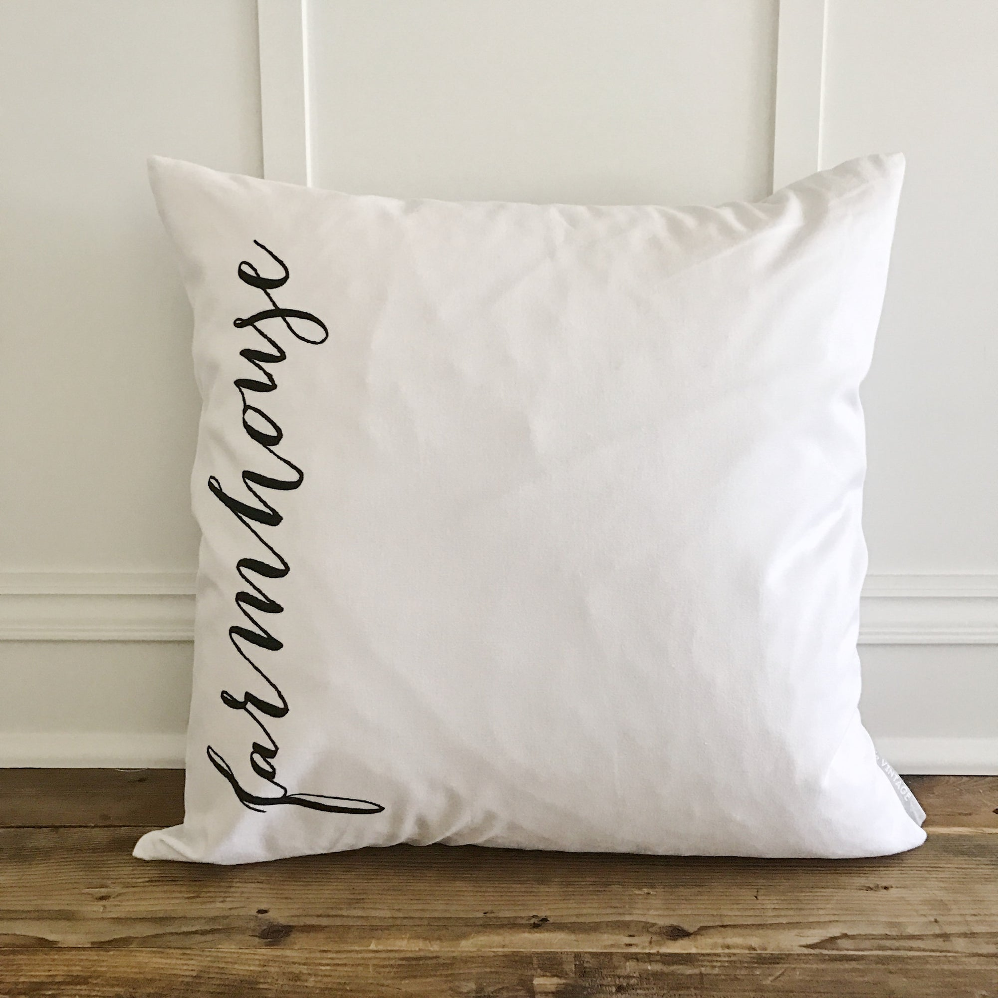 Vertical Farmhouse Pillow Cover - Linen and Ivory