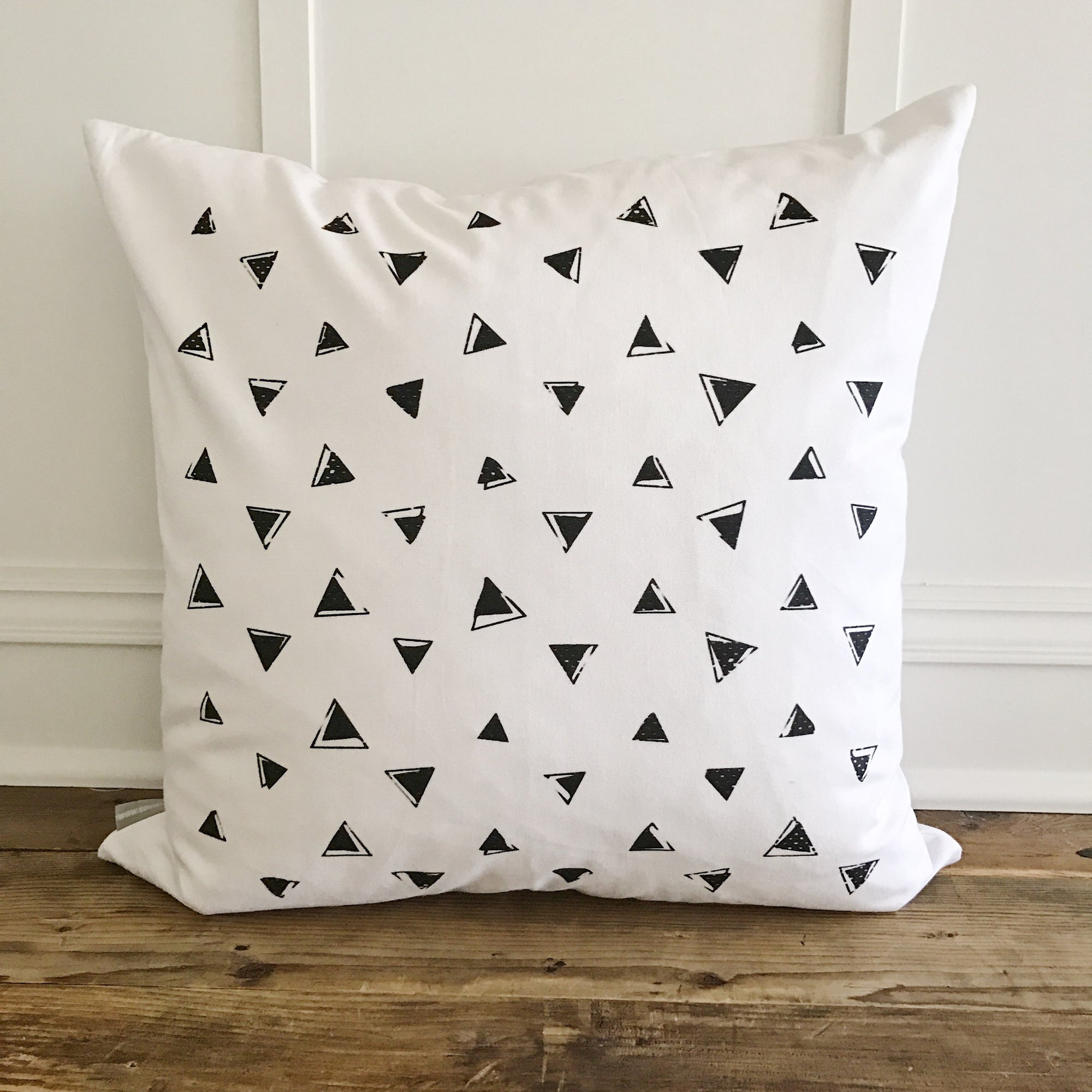 Triangle Stamp Pillow Cover - Linen and Ivory