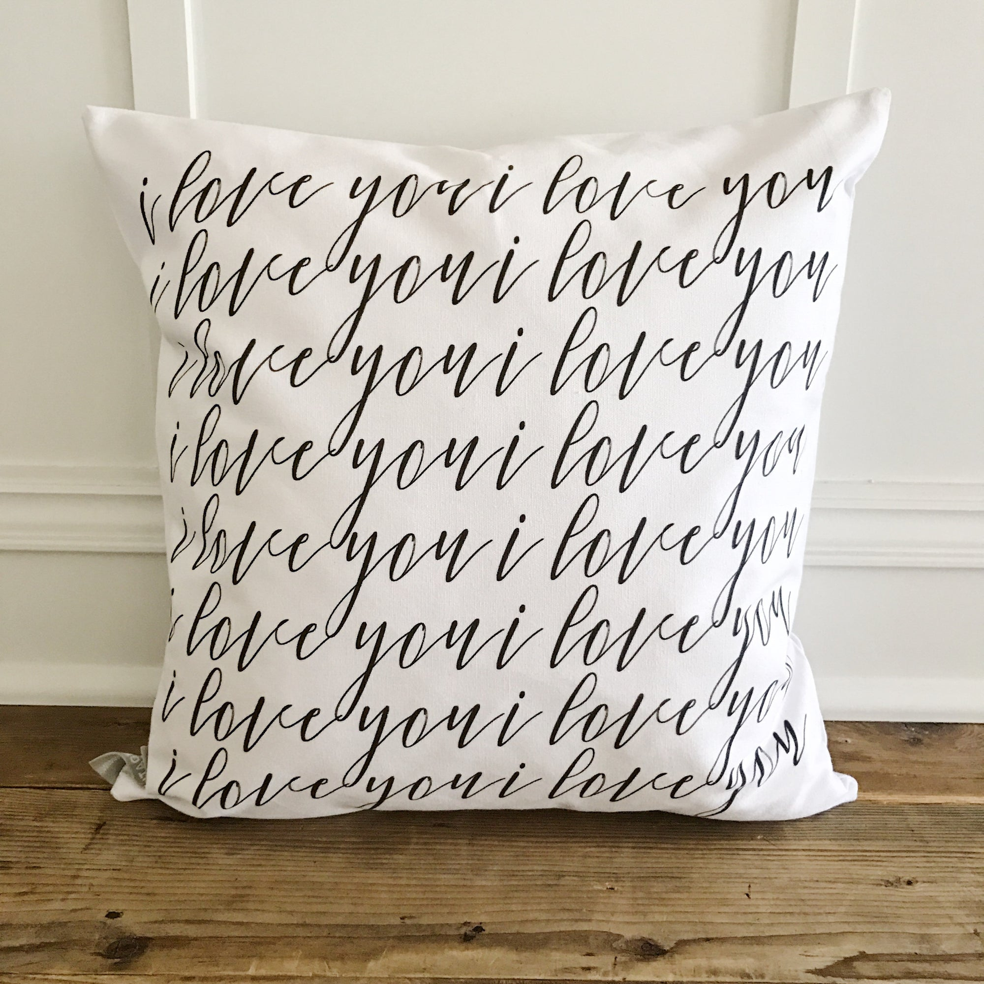 I love you Pillow Cover - Linen and Ivory