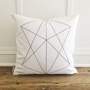 Geometric Pillow Cover - Linen and Ivory