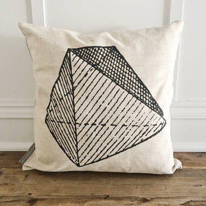 Geometric Striped Pillow Cover - Linen and Ivory