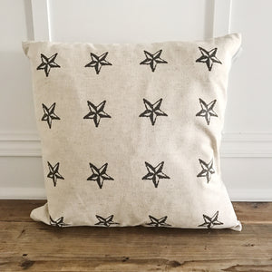 Star Stamp Pillow Cover - Linen and Ivory