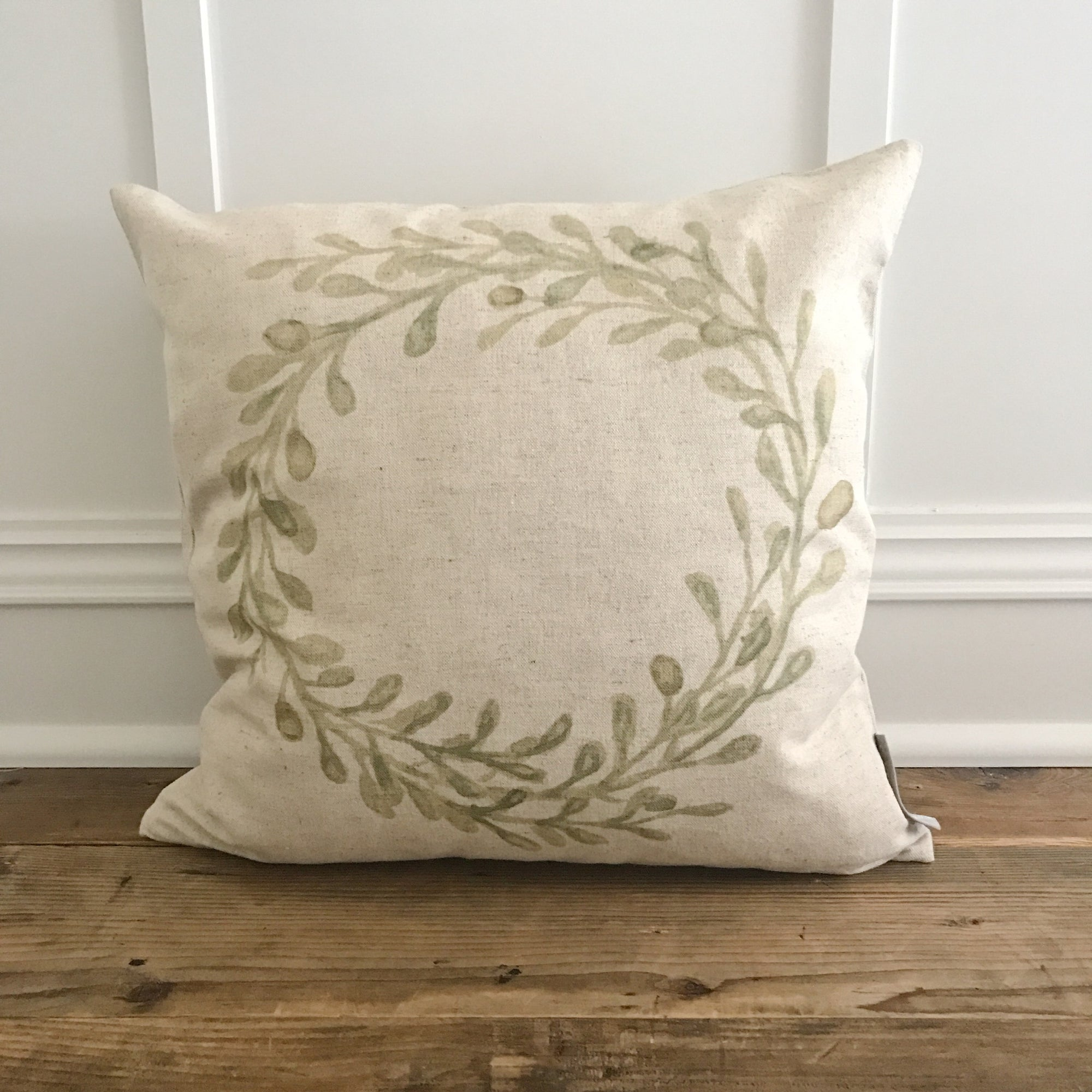 Watercolor Olive Wreath Pillow Cover - Linen and Ivory
