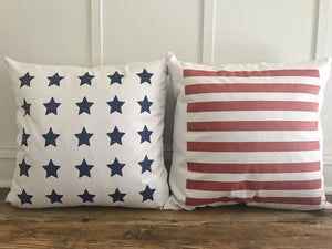 American Flag Pillow Cover (Set of 2) - Linen and Ivory