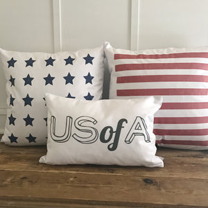 US of A Pillow Cover (Charcoal) - Linen and Ivory