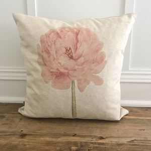 Watercolor Peony Pillow Cover - Linen and Ivory