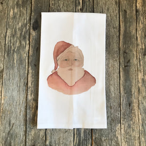 Watercolor Santa Tea Towel - Linen and Ivory