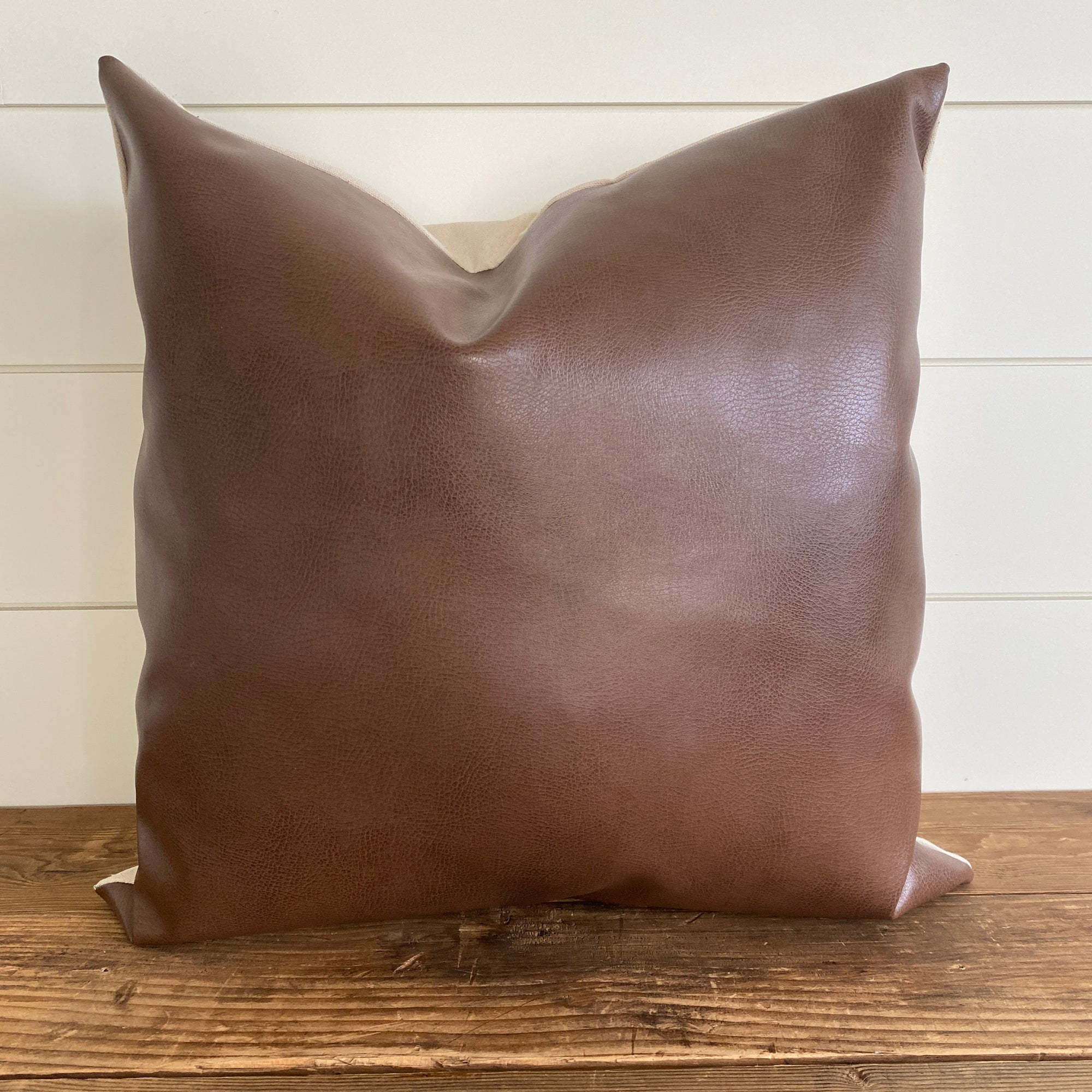 HARLOW || Dark Brown Faux Leather Pillow Cover