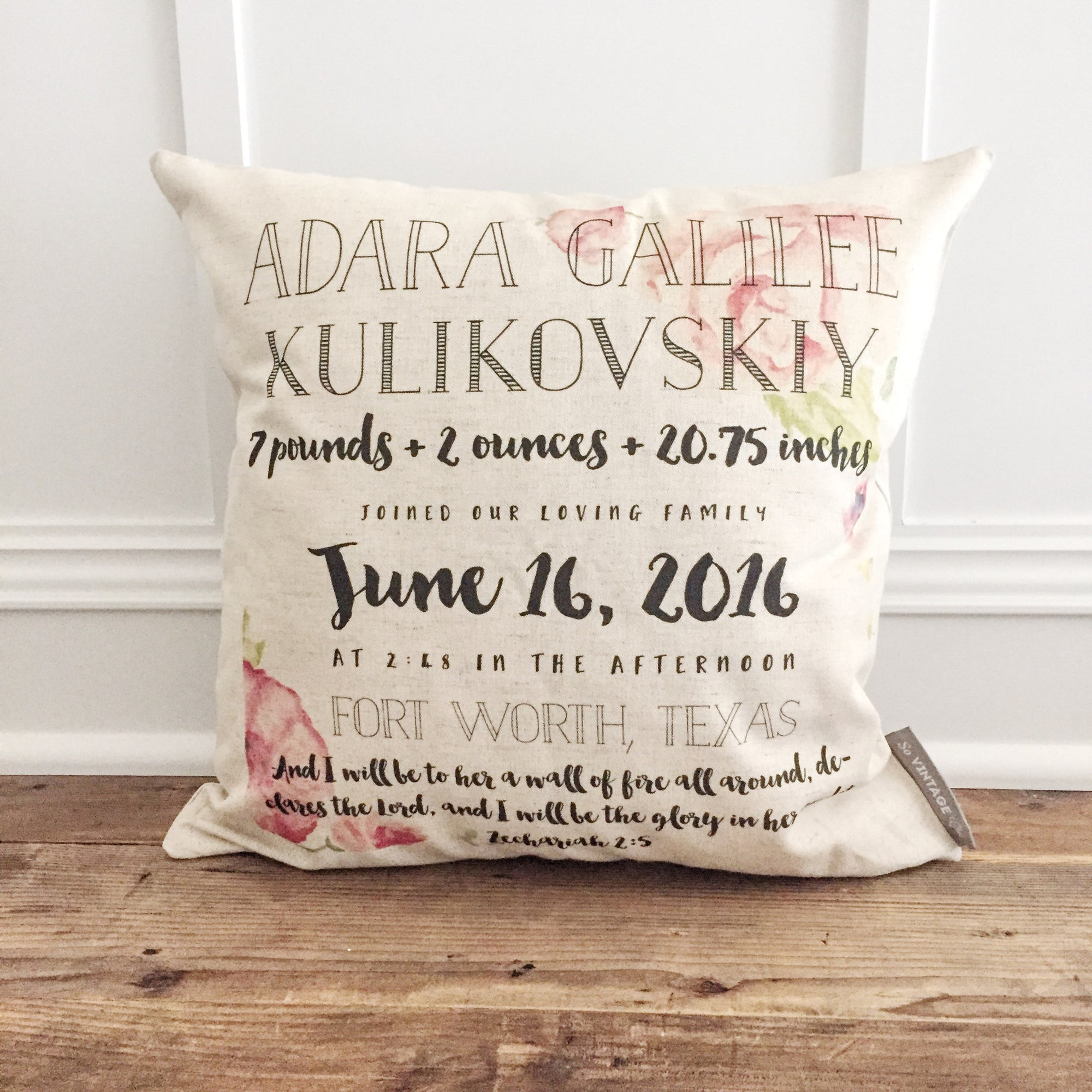 Watercolor Floral Birth Announcement Pillow Cover - Linen and Ivory