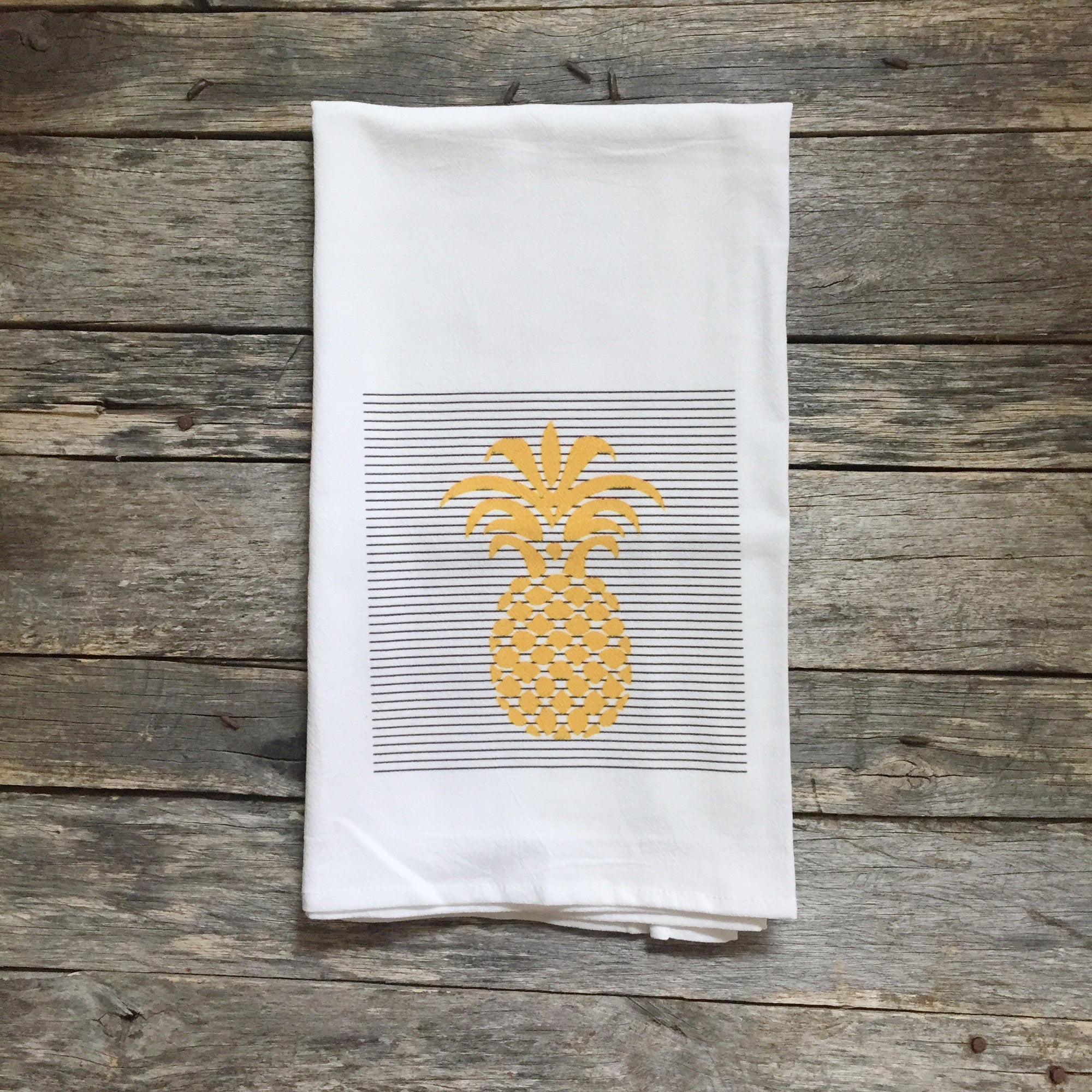 Pineapple Stripes Tea Towel - Linen and Ivory