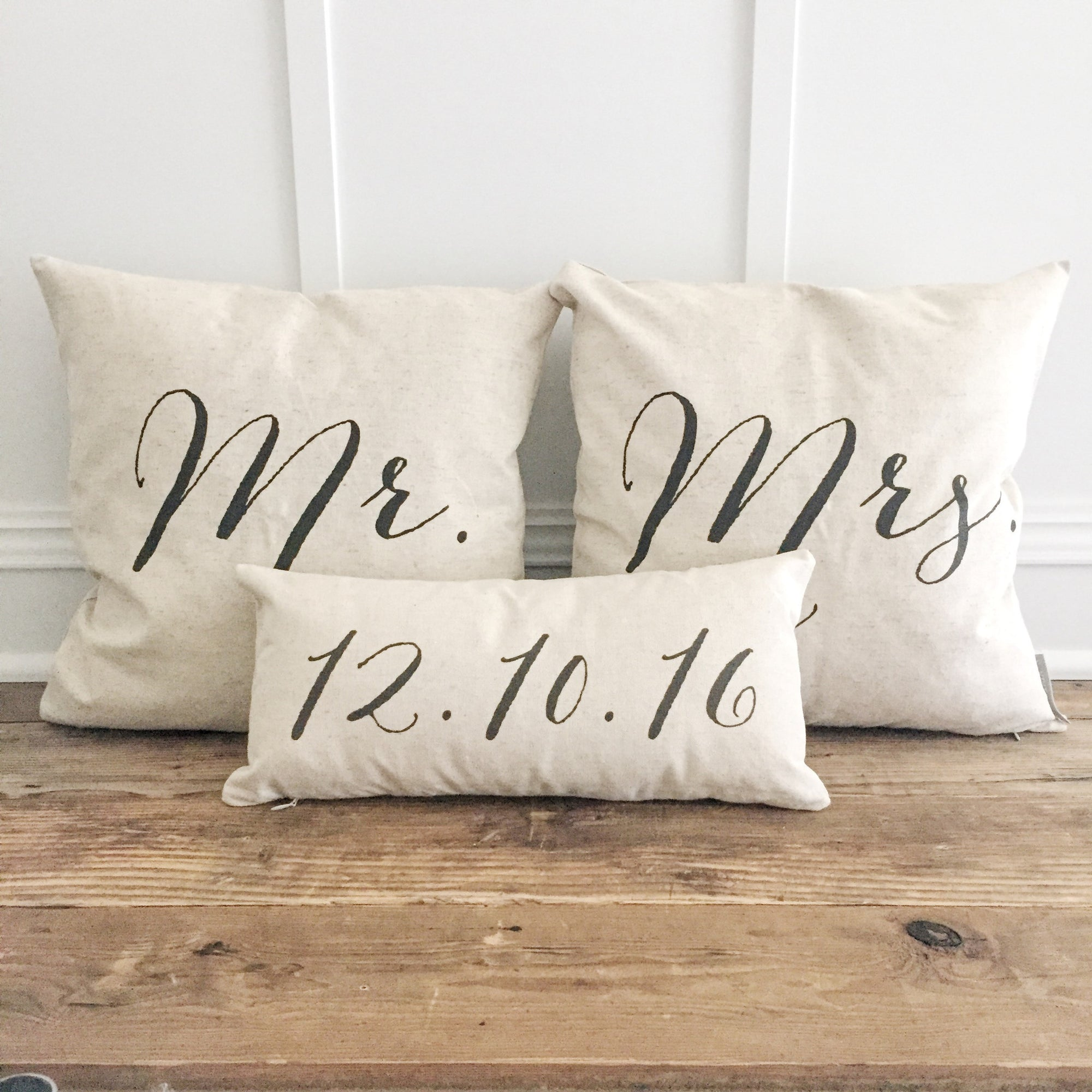 Mr & Mrs Pillow Cover With Wedding Date Design 2 (Set of 3) - Linen and Ivory