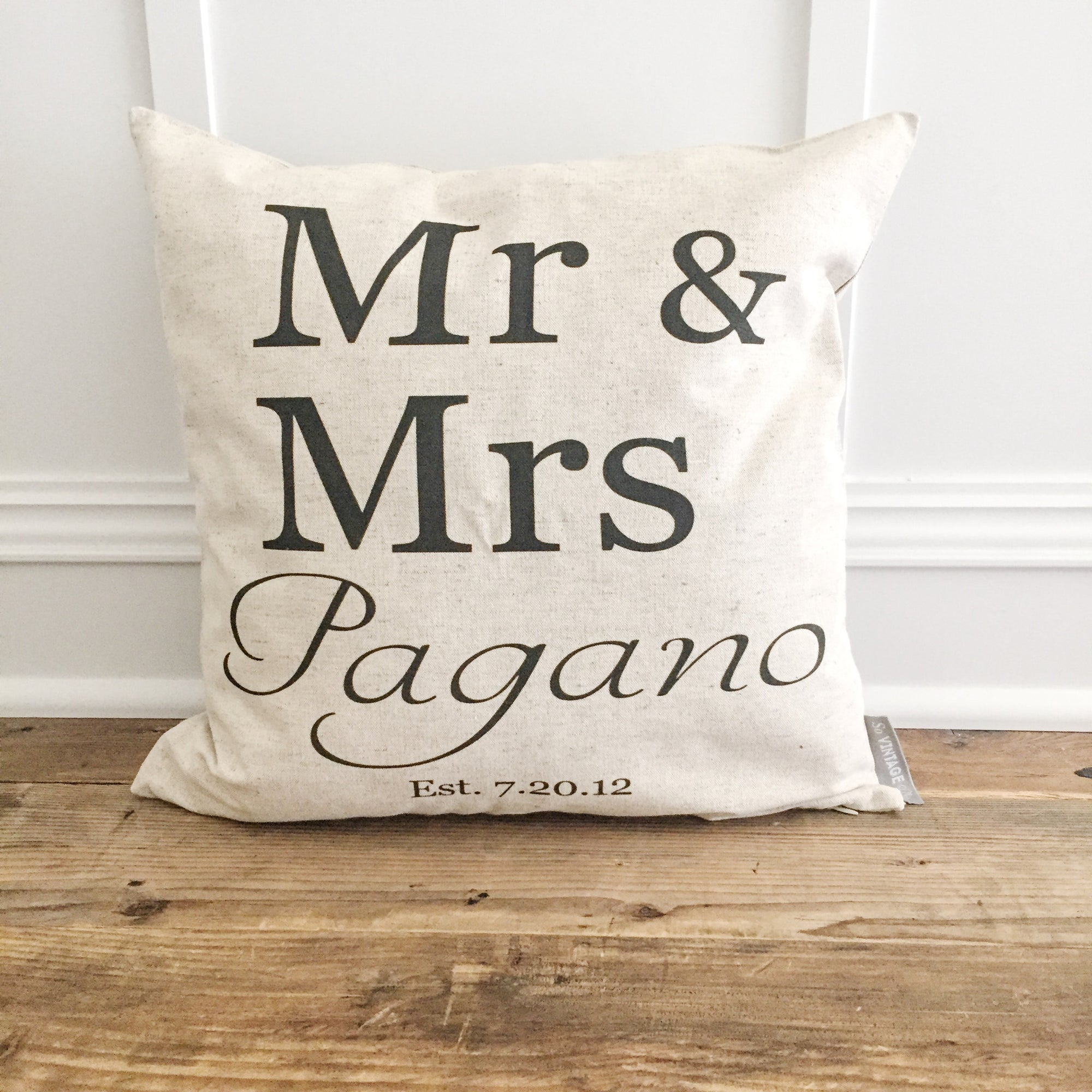 Custom Mr & Mrs. Pillow Cover - Linen and Ivory