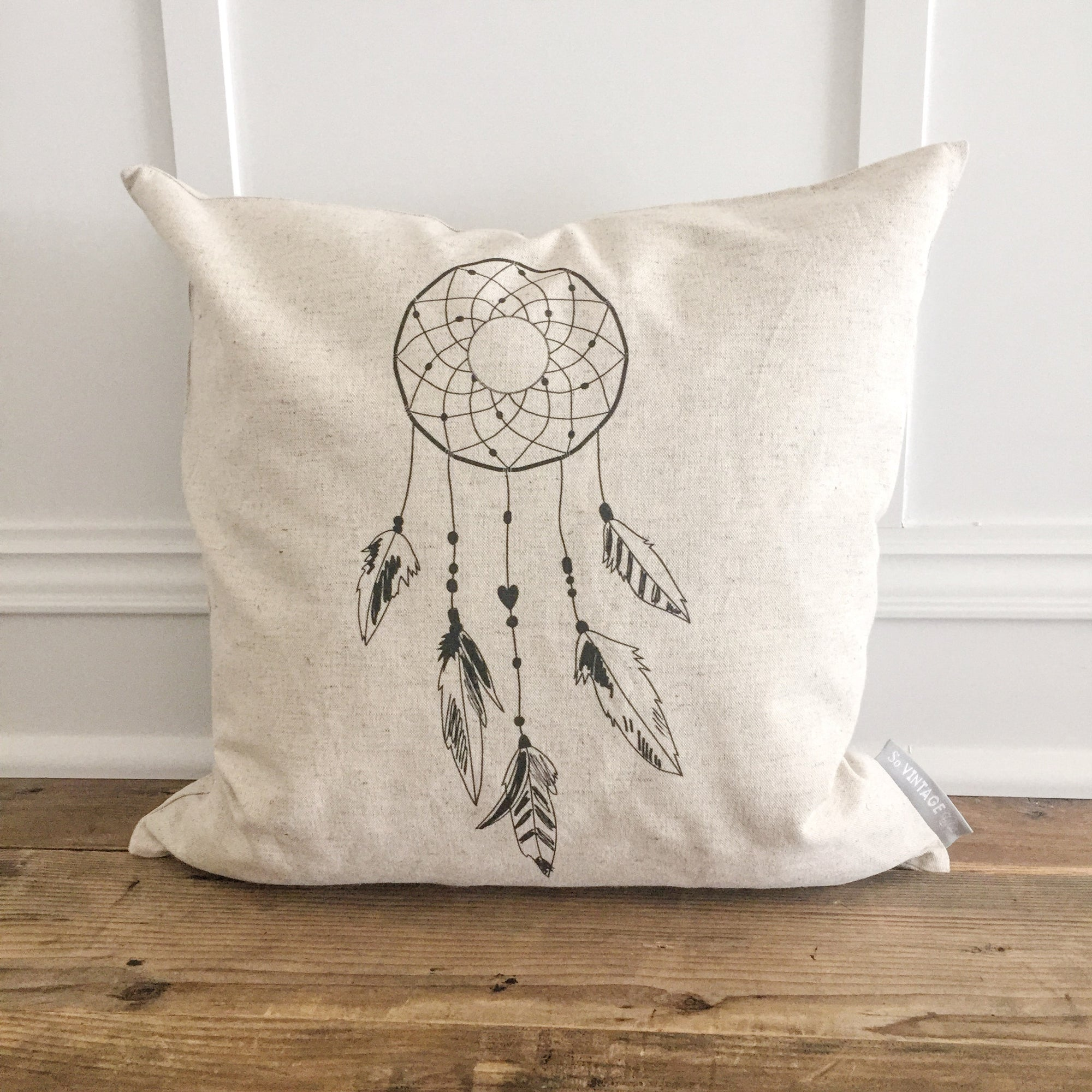 Dream Catcher Pillow Cover - Linen and Ivory