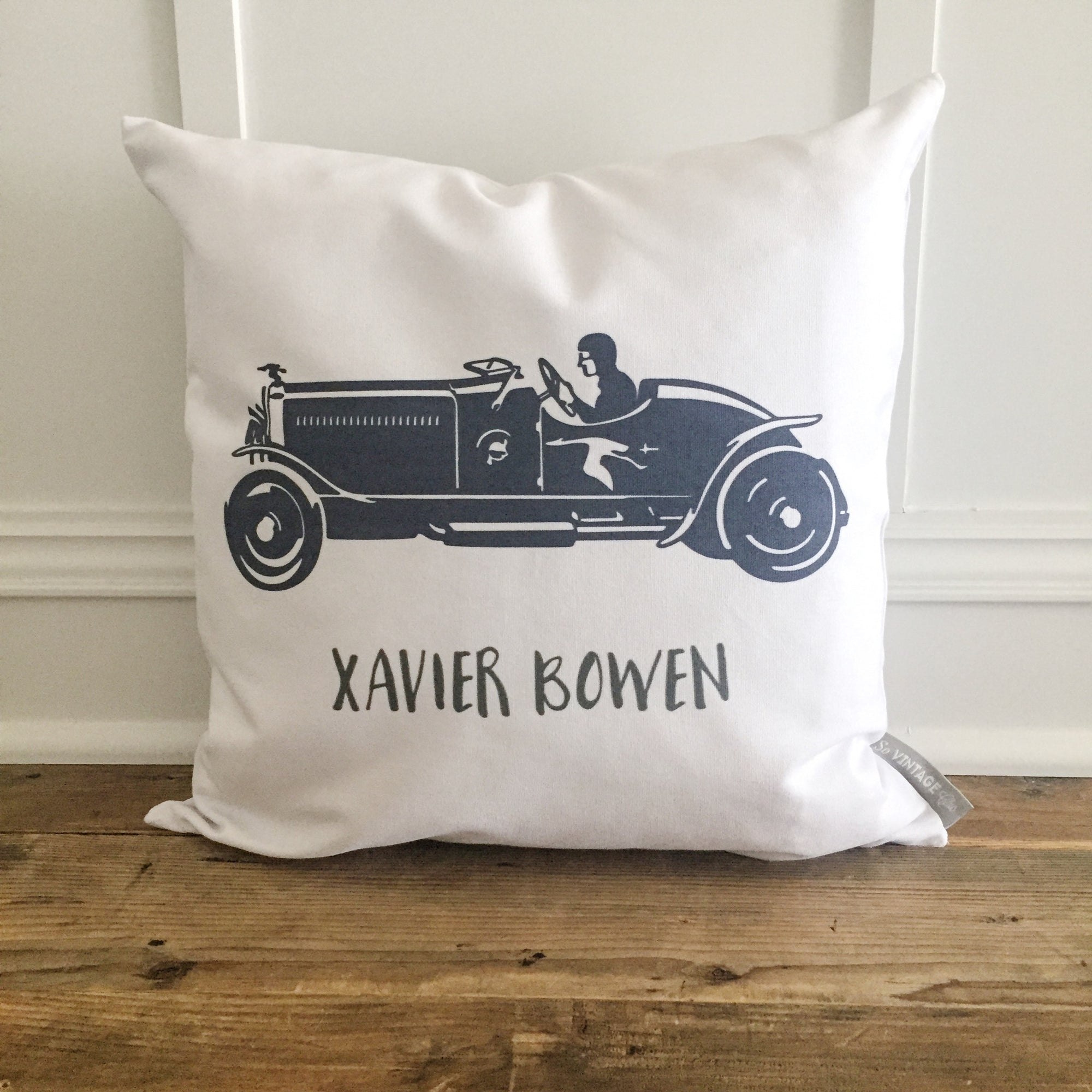 Custom Race Car Pillow Cover - Linen and Ivory