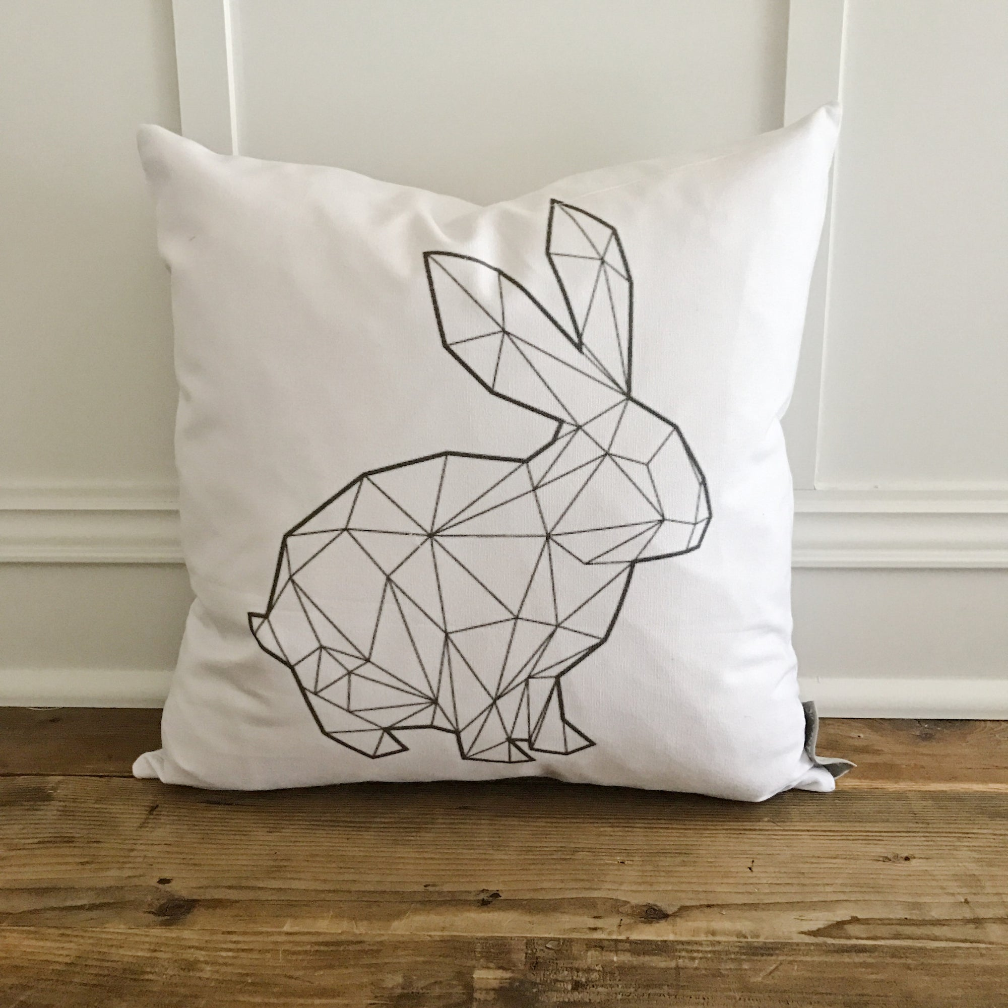 Geometric Bunny Pillow Cover - Linen and Ivory