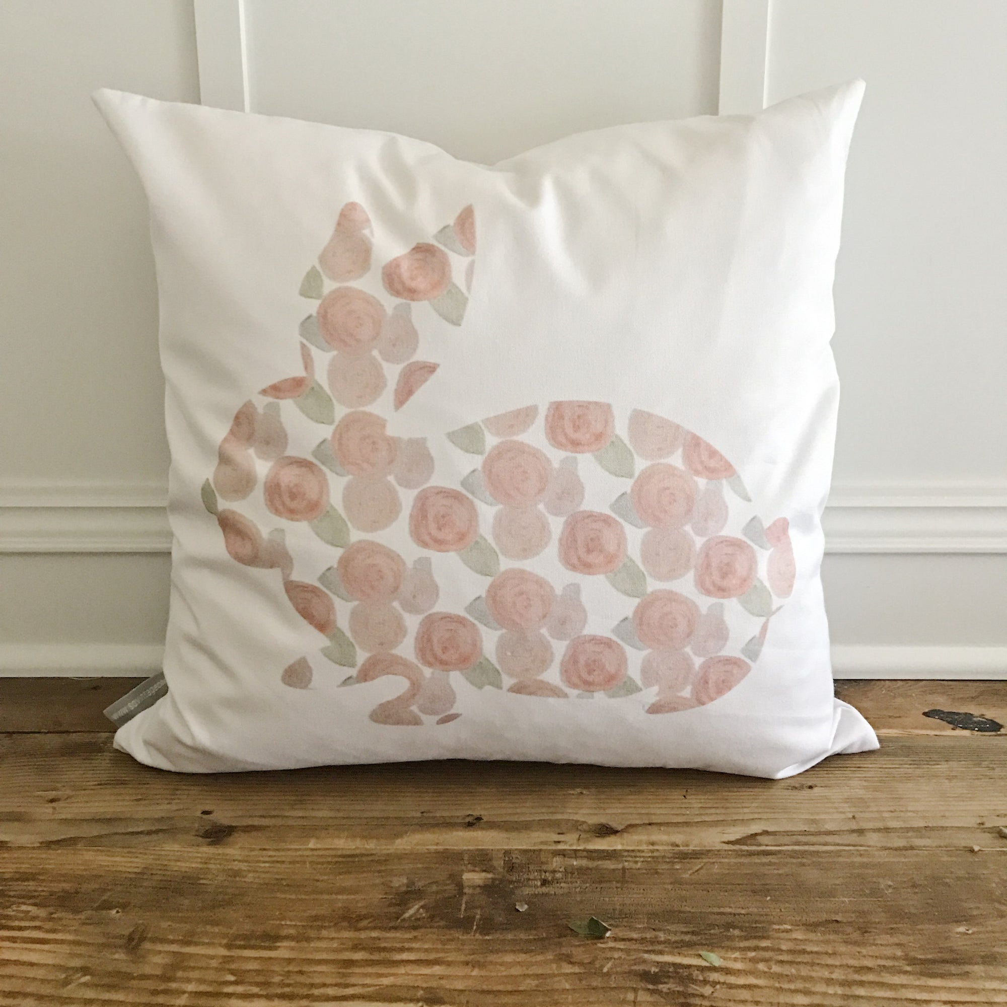 Watercolor Rose Bunny Pillow Cover - Linen and Ivory