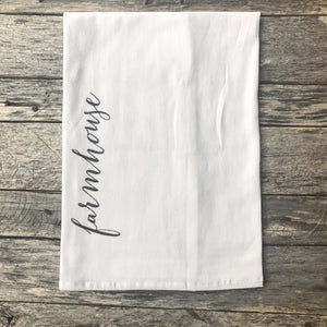 Vertical Farmhouse Tea Towel - Linen and Ivory