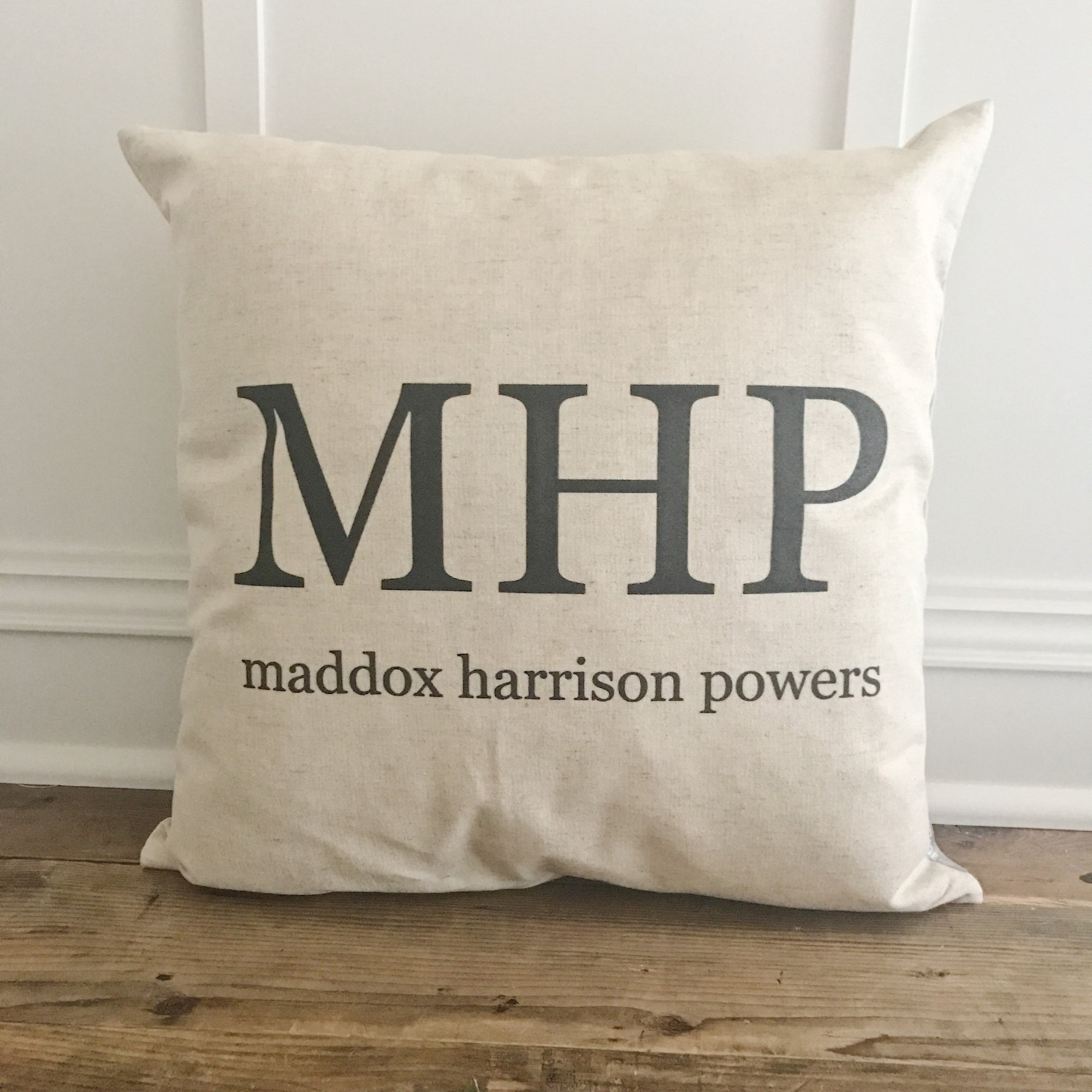 Monogram and Name Pillow Cover - Linen and Ivory
