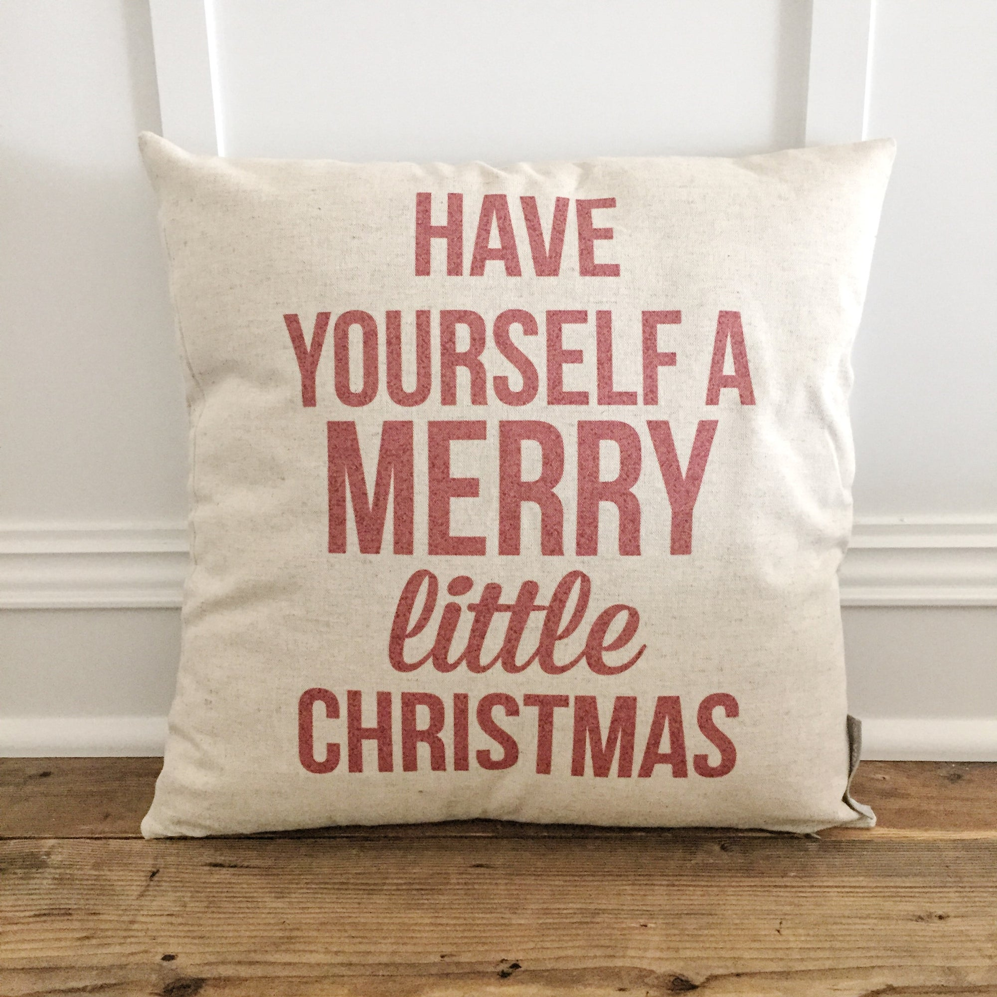 Merry Little Christmas Pillow Cover (Red) - Linen and Ivory