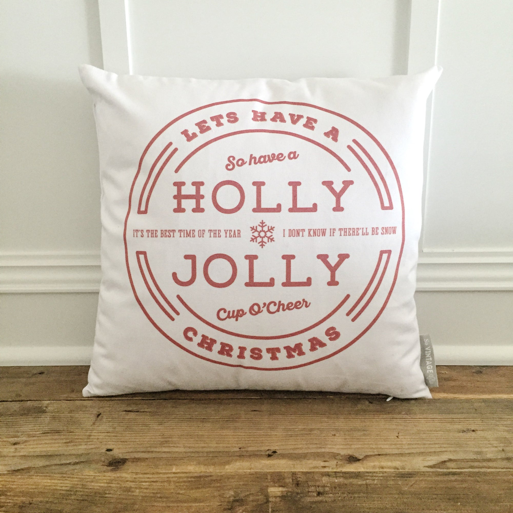 Holly Jolly Pillow Cover (Red) - Linen and Ivory