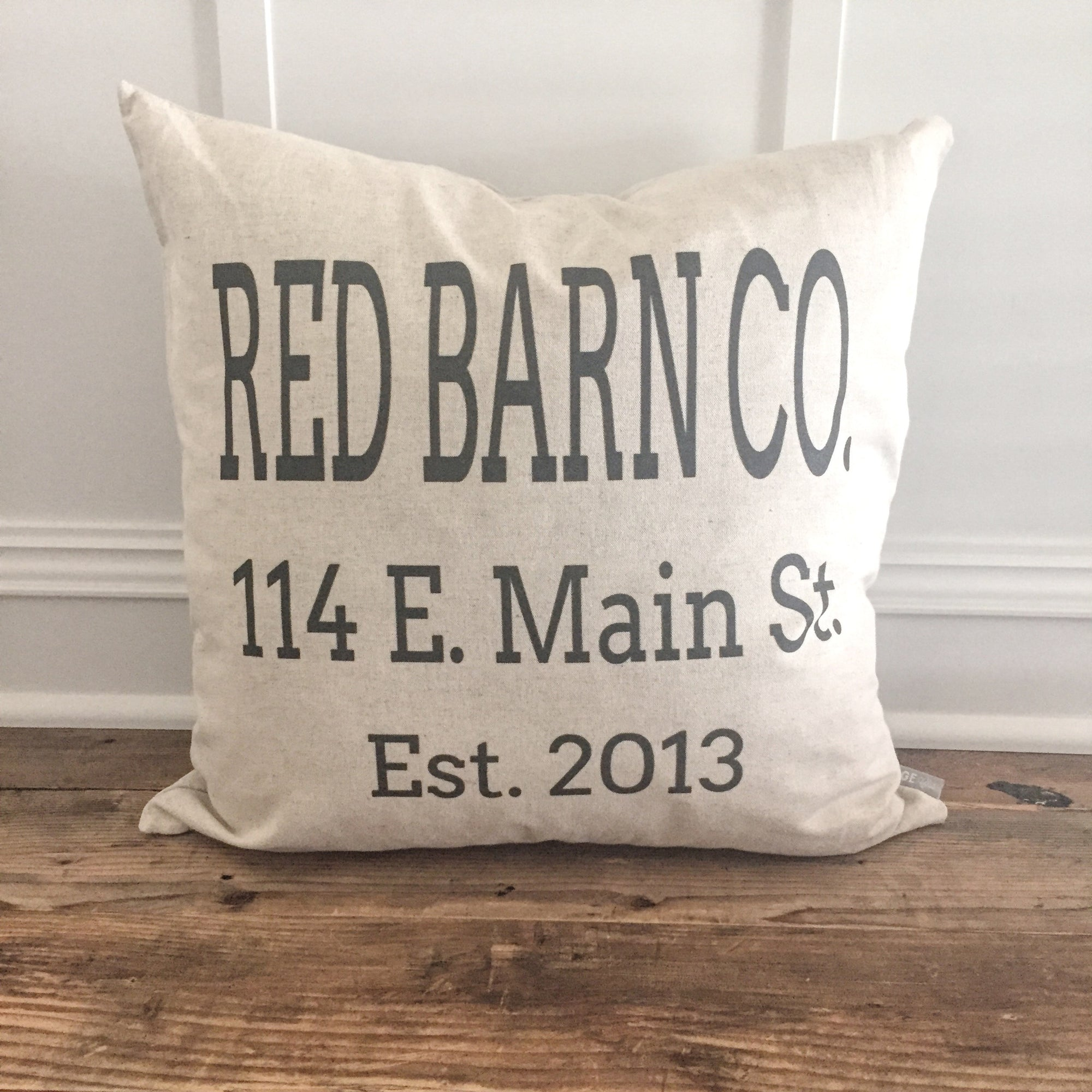 Custom Name & Address Pillow Cover - Linen and Ivory