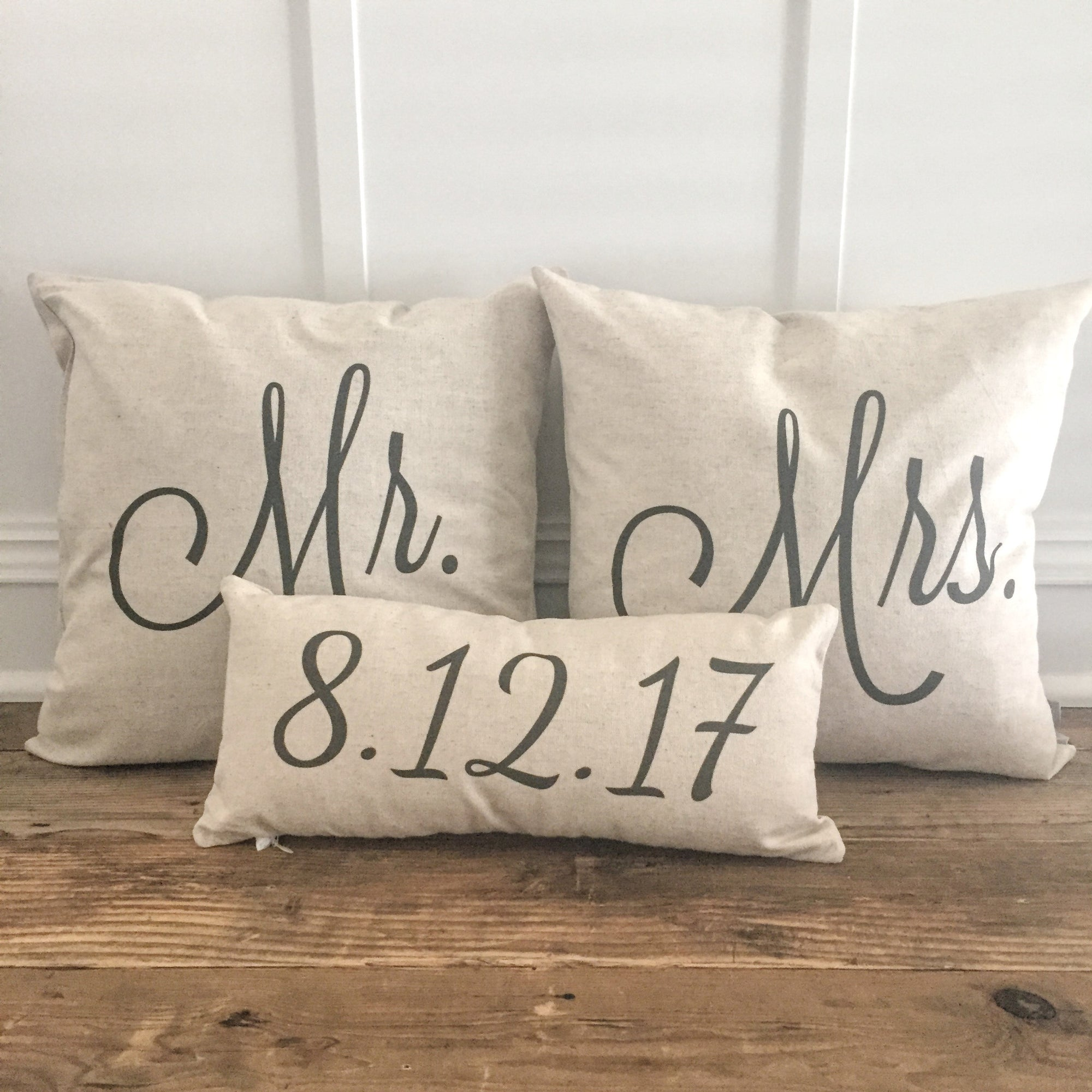 Mr & Mrs Pillow Covers With Wedding Date (Set of 3) - Linen and Ivory