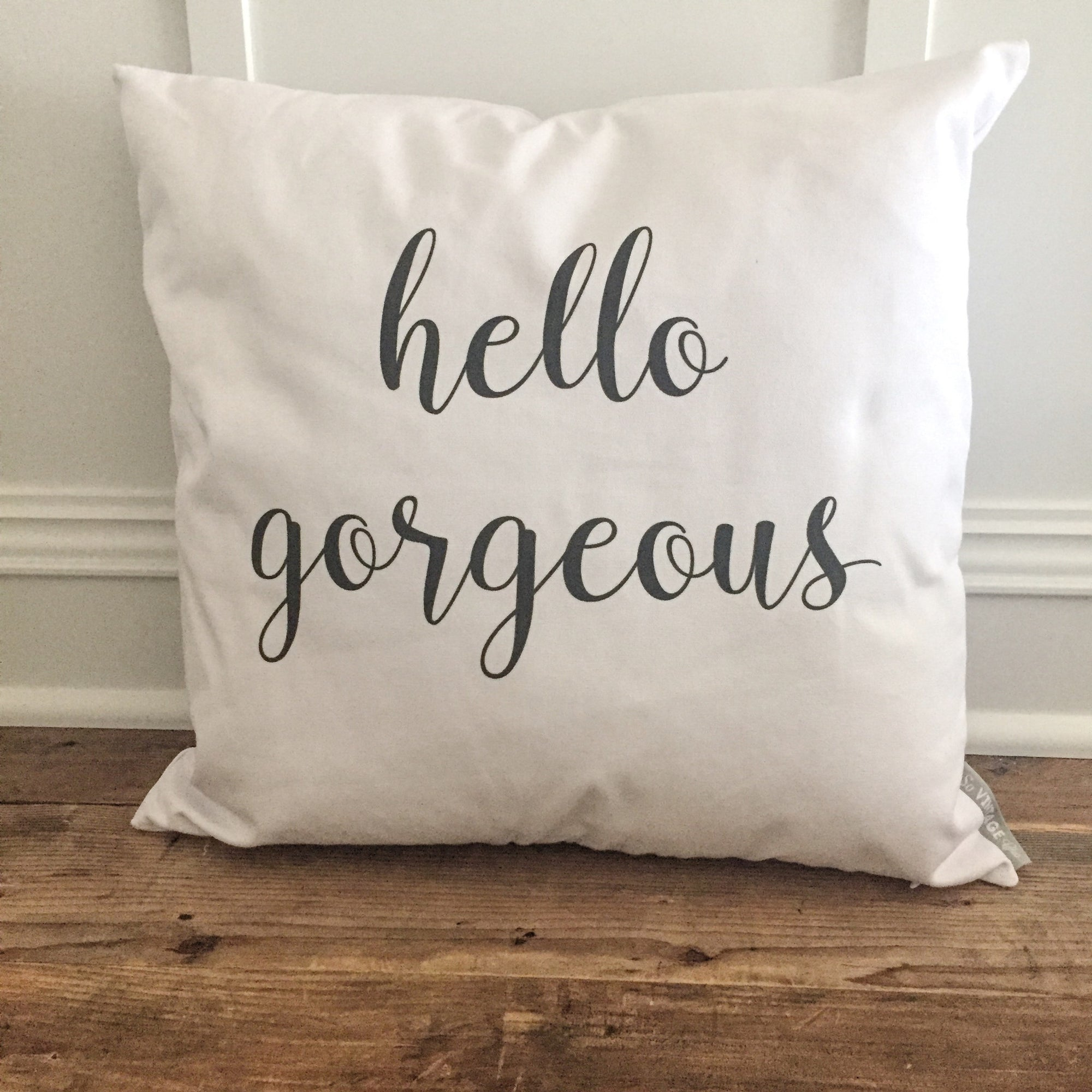 Hello Gorgeous Pillow Cover - Linen and Ivory